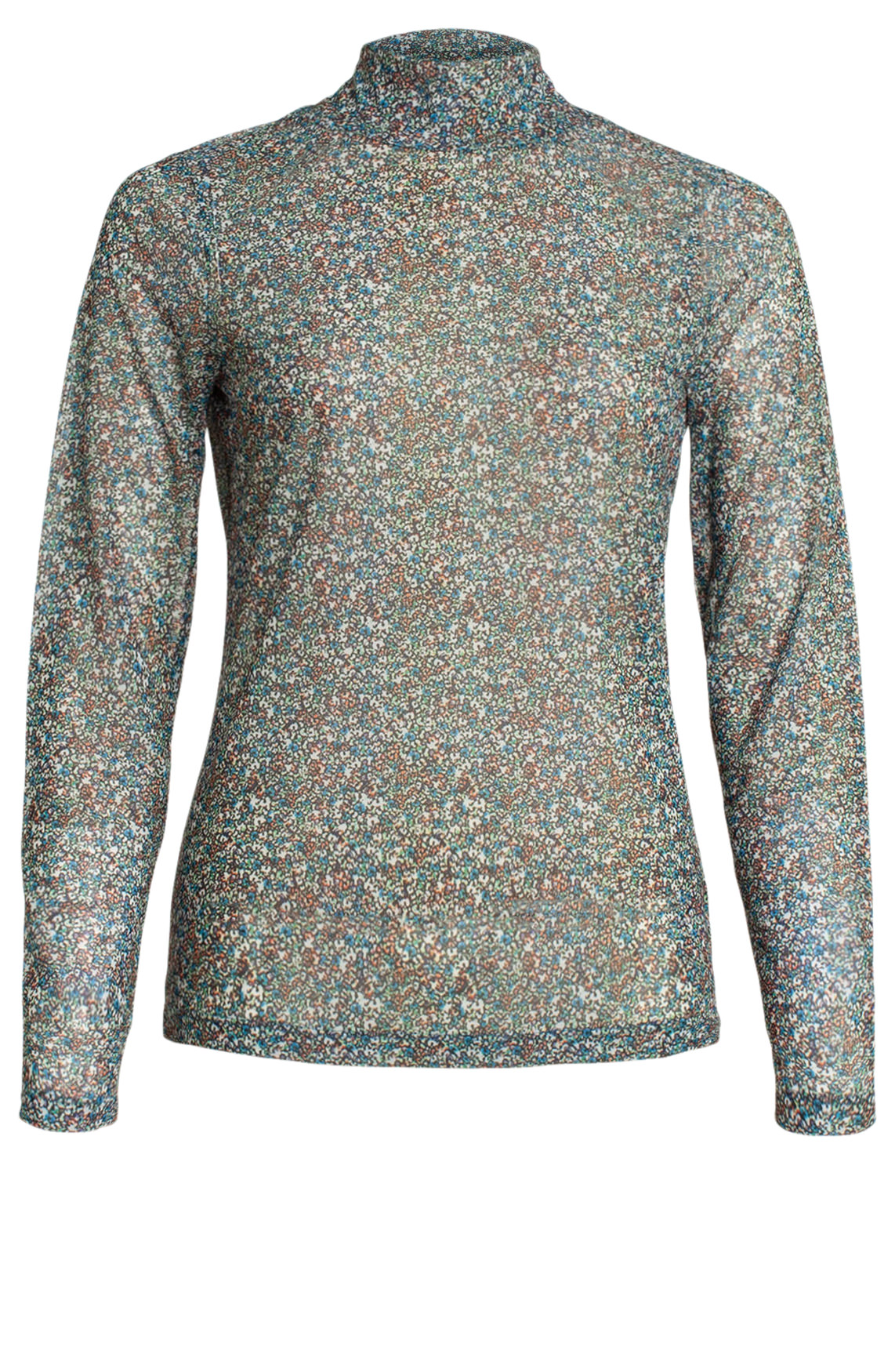 Anna Dames Mesh shirt met bloemenprint wit