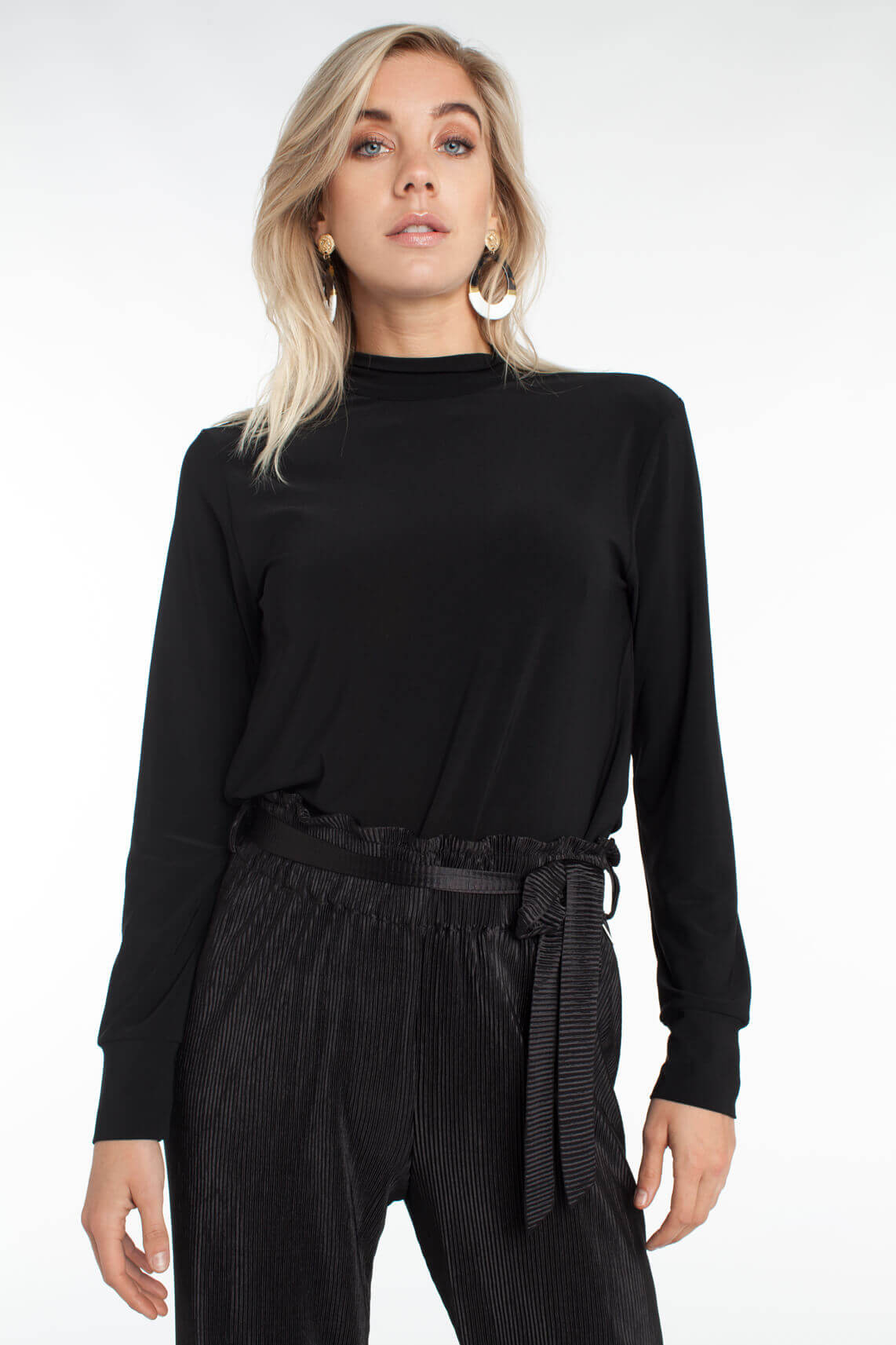 Anna Dames Shirt met striksluiting zwart