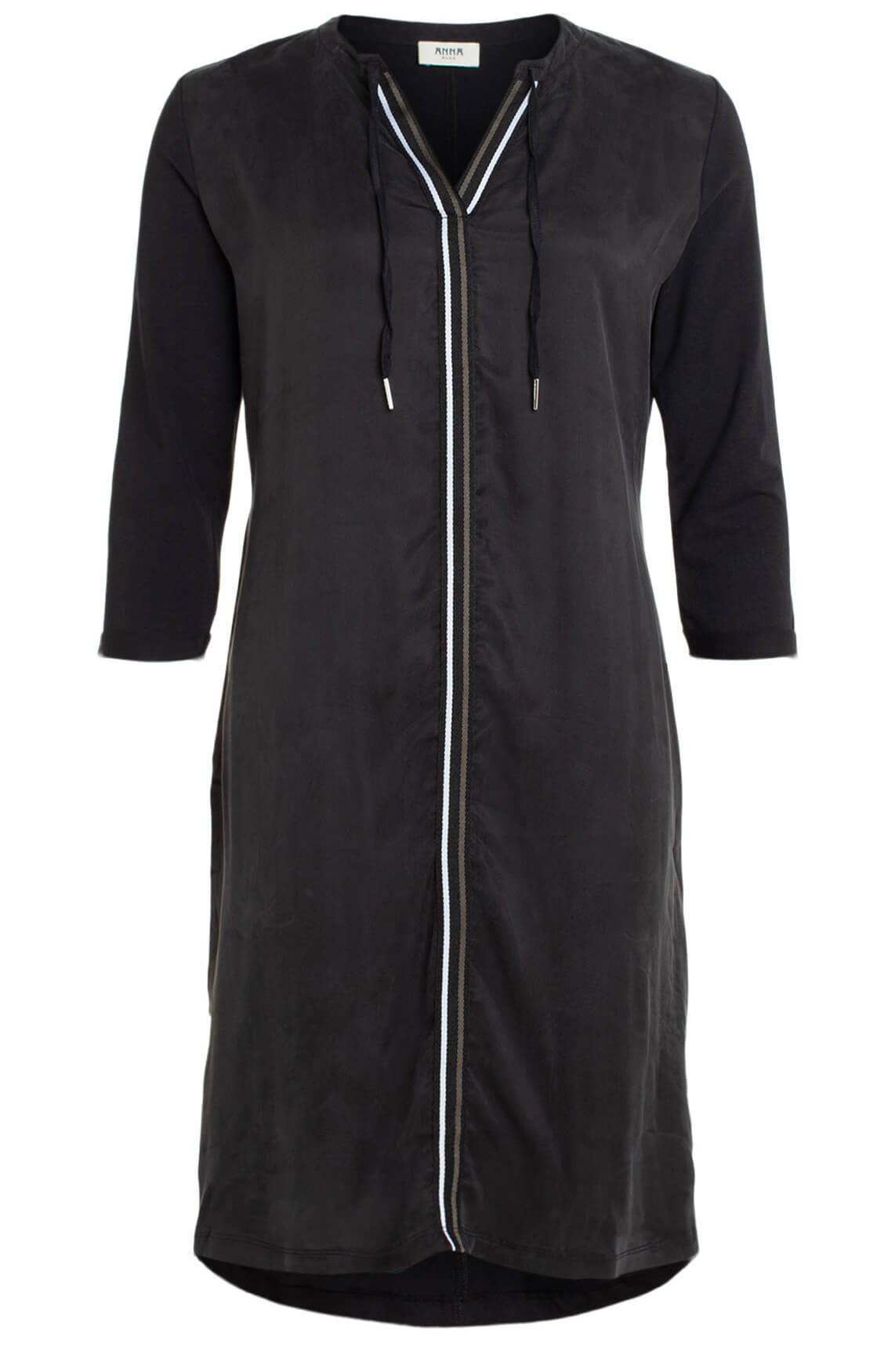 Anna Blue Dames Materiaalmix jurk zwart