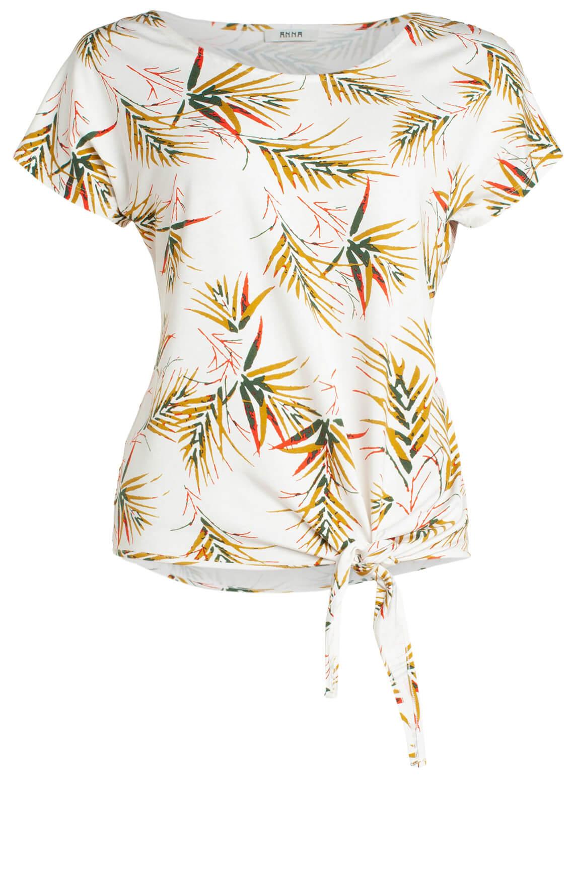 Anna Dames Shirt met tropische print wit