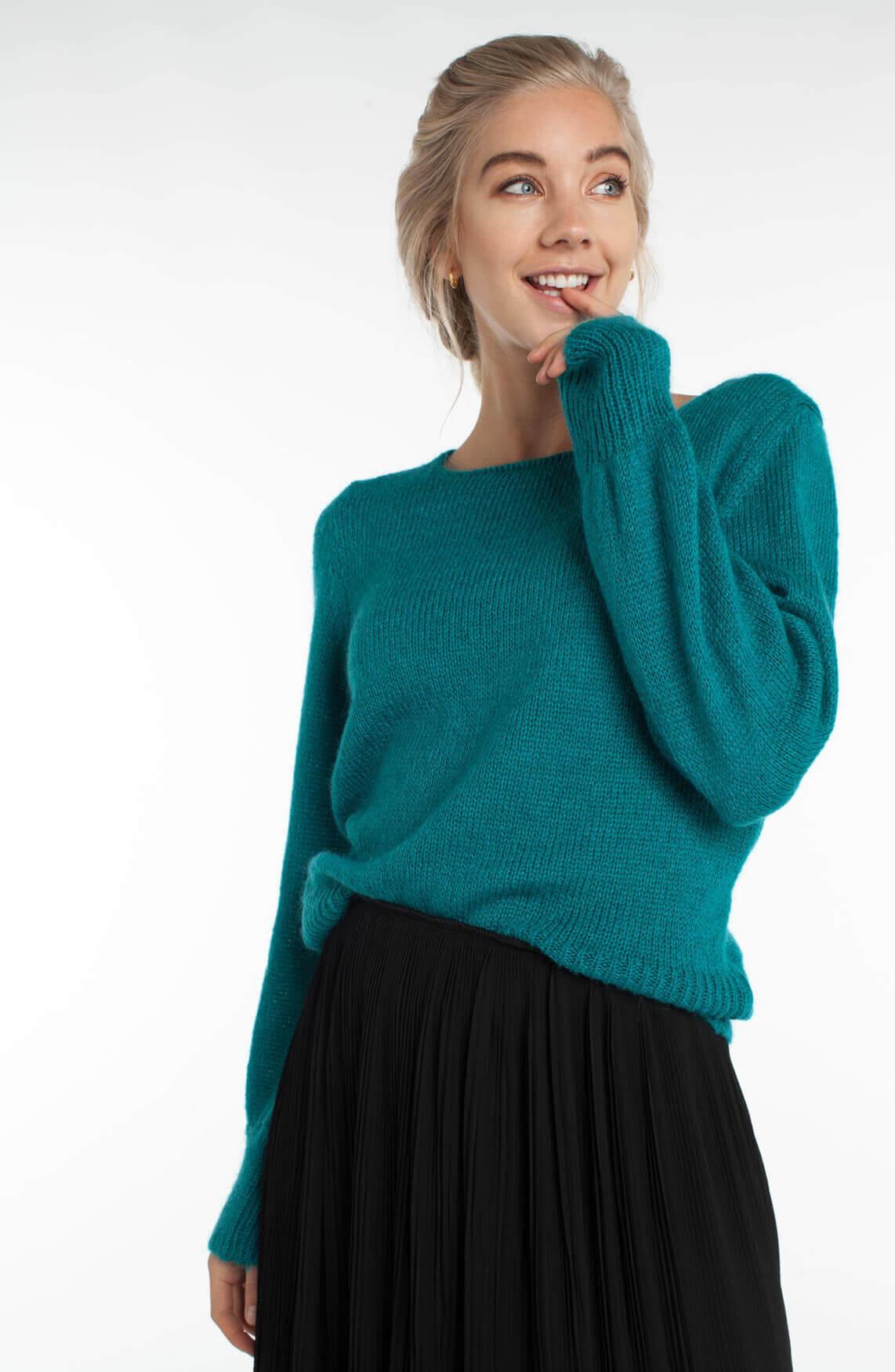 La Fée Maraboutée Dames Pullover met boothals groen