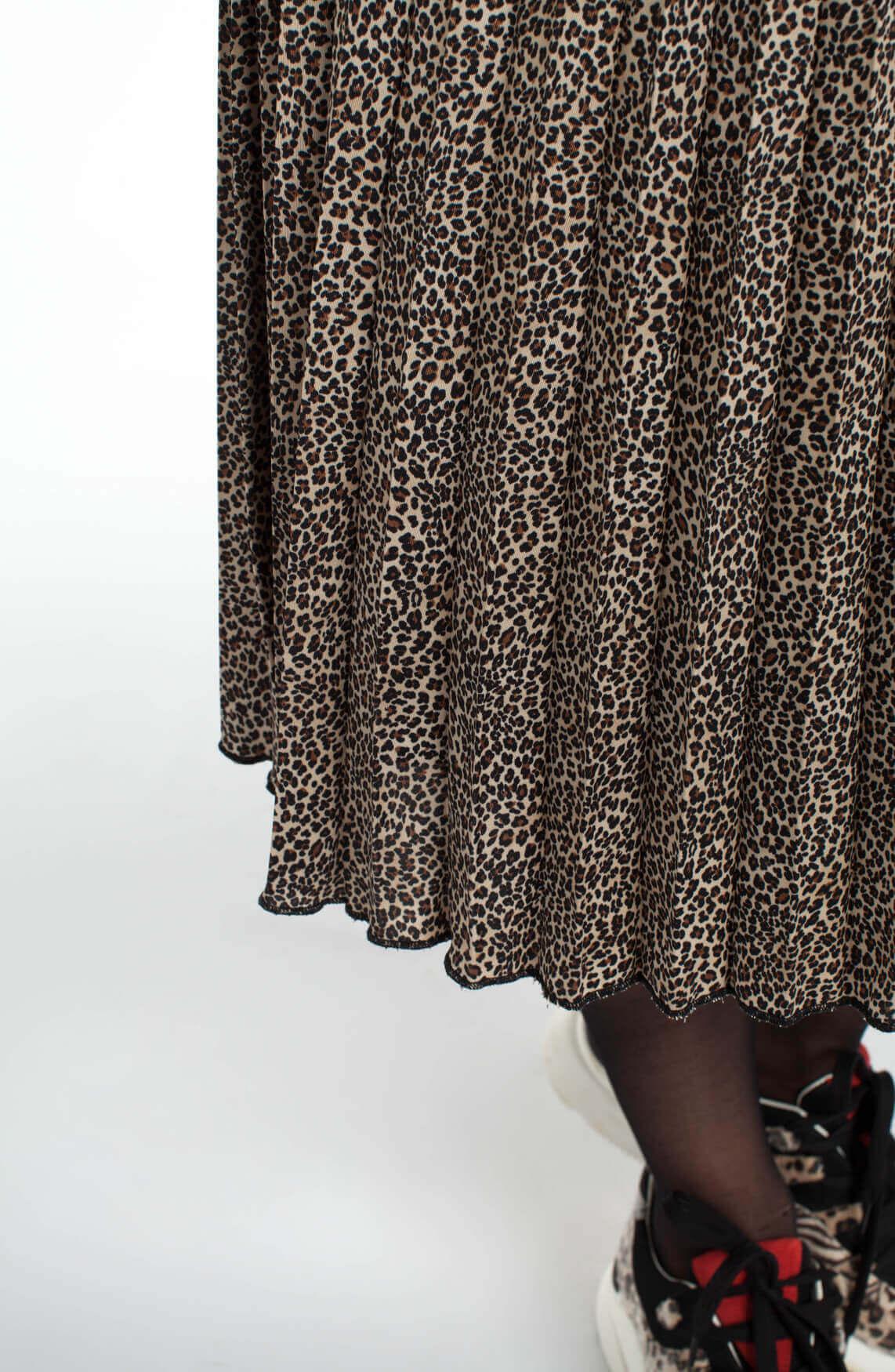 La Fée Maraboutée Dames Panterprint plissé rok Bruin