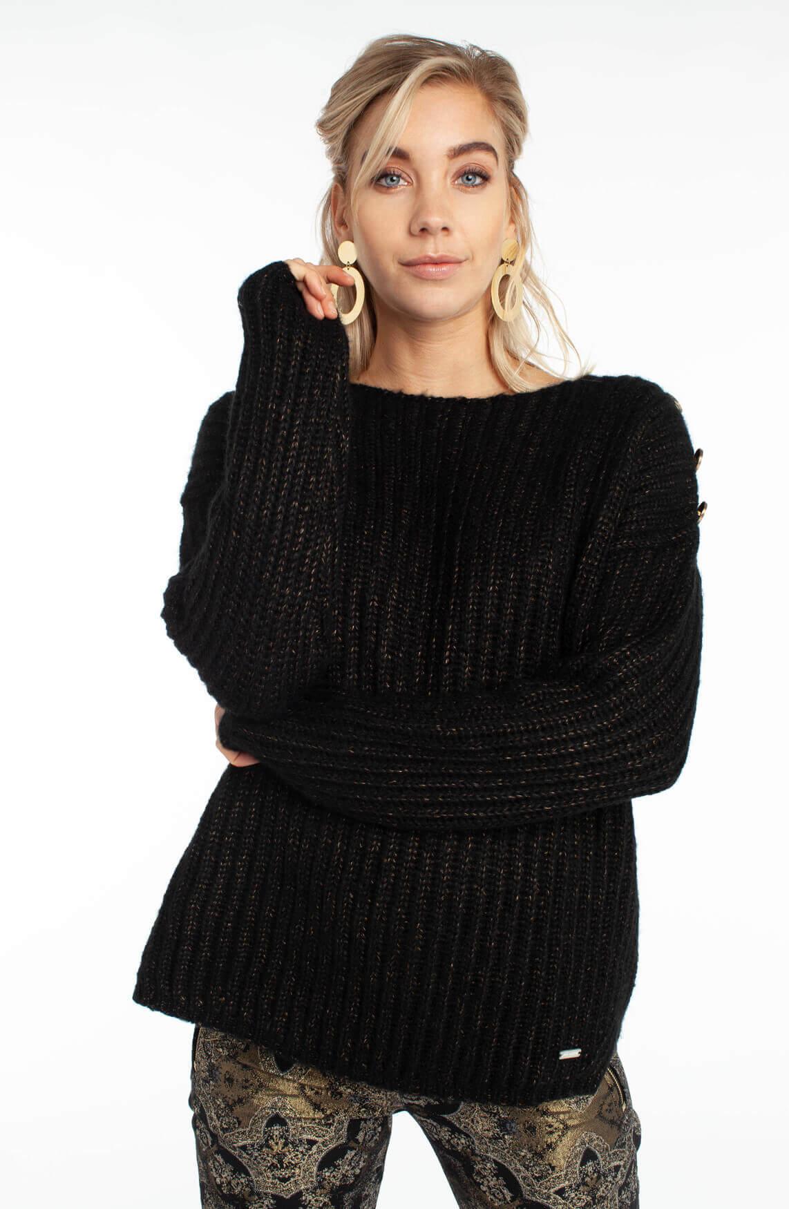 Jane Lushka Dames Grofgebreide trui met sierknopen zwart