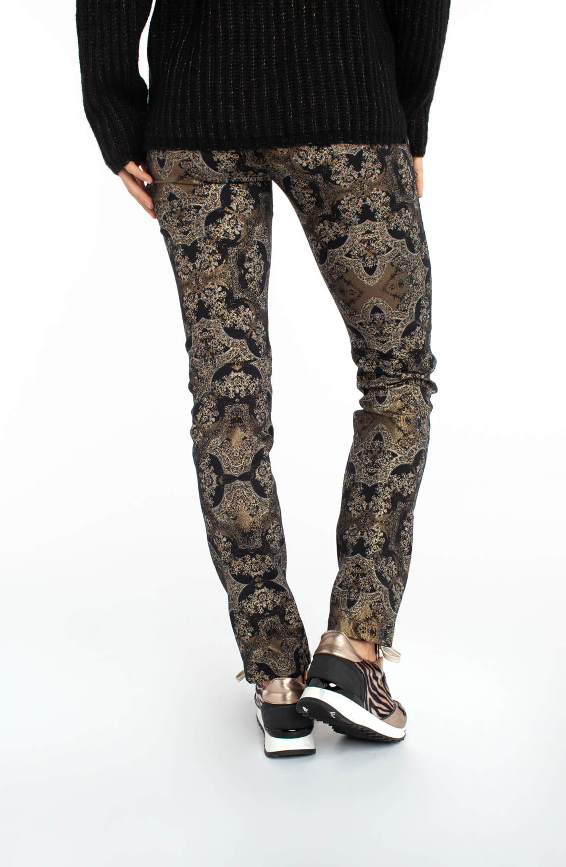 Jane Lushka Dames Broek met barok glitterprint zwart