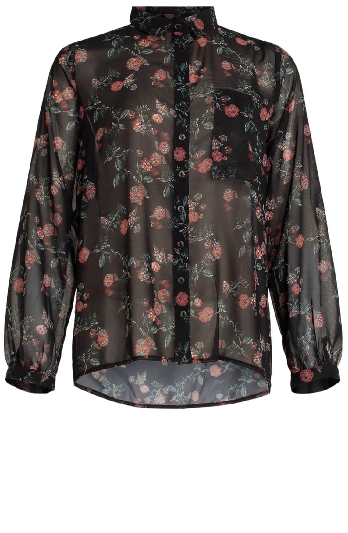 Jane Lushka Dames Blouse met bloemenprint zwart