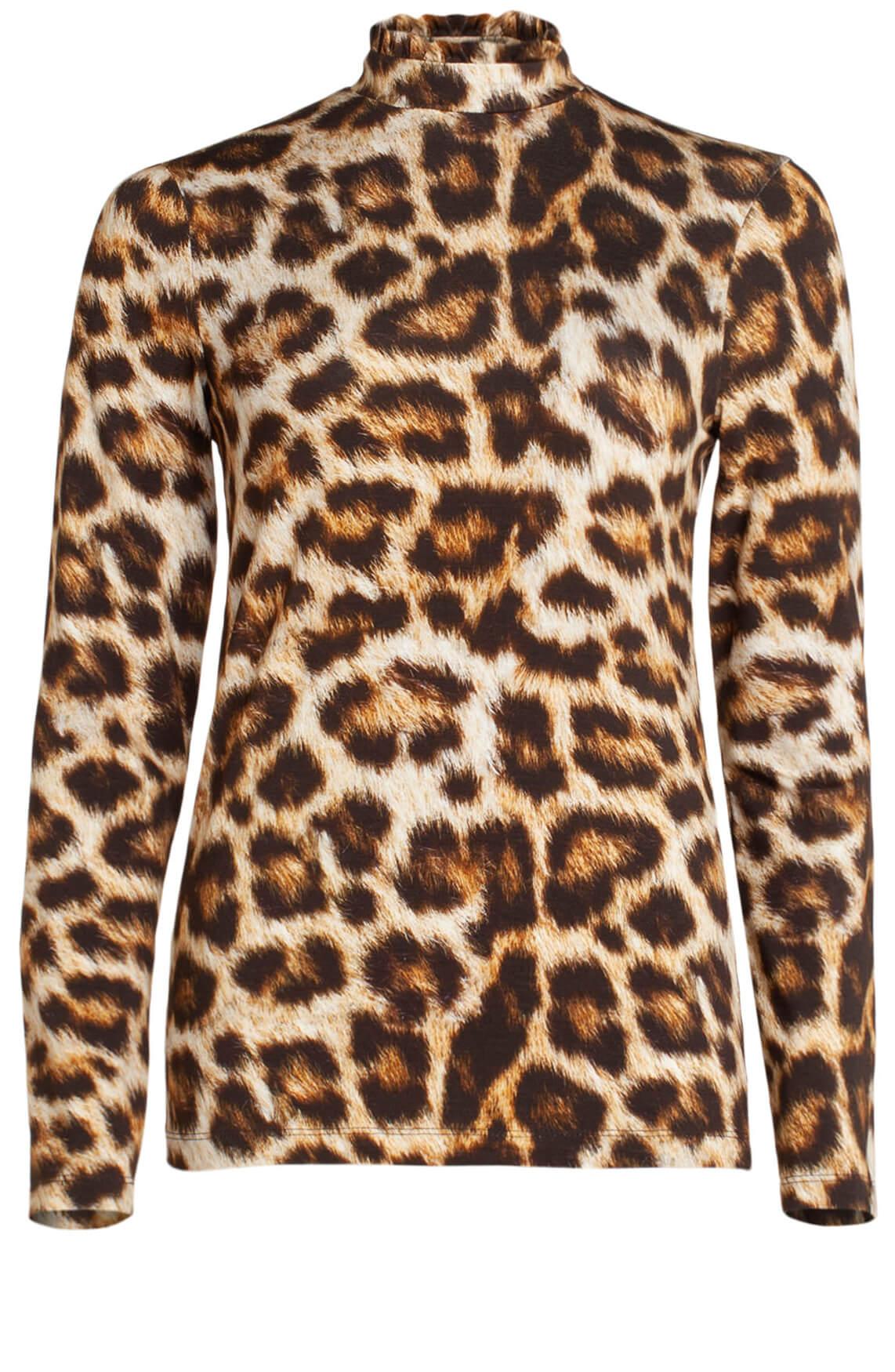 Jane Lushka Dames Panterprint shirt met col Bruin