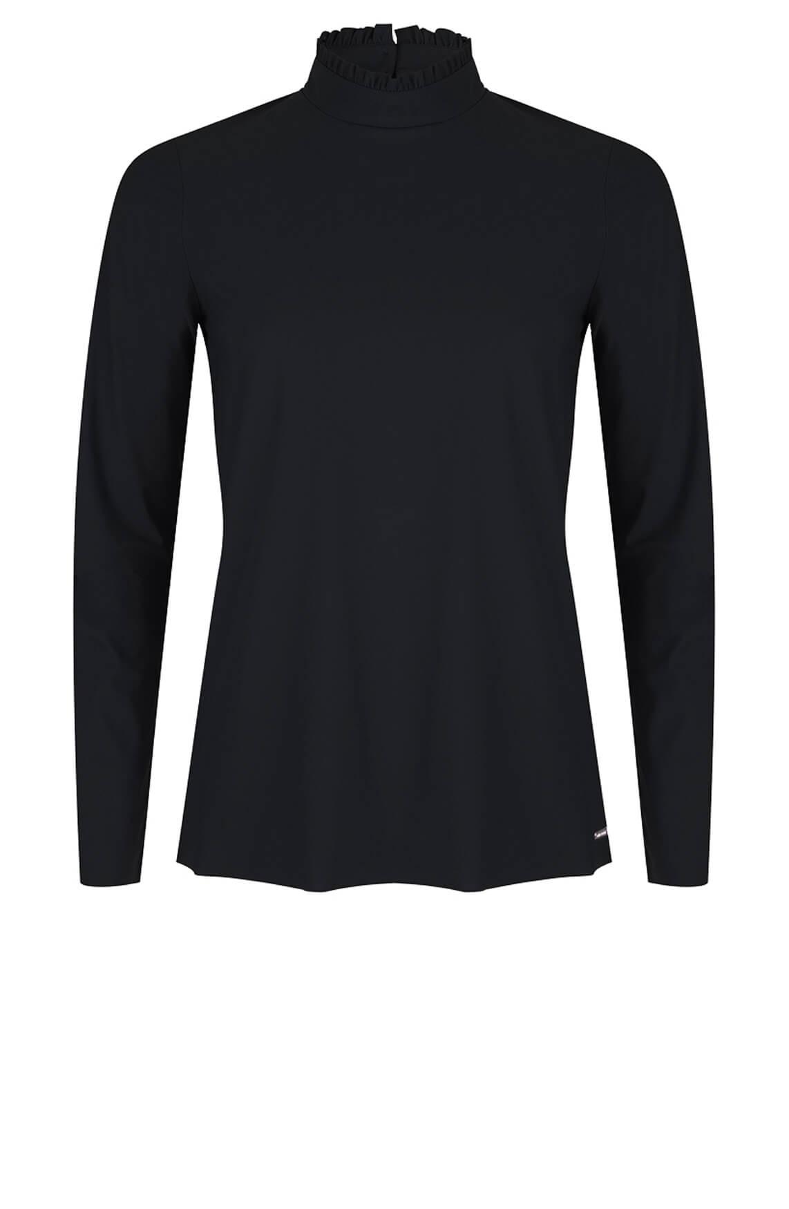 Jane Lushka Dames Jersey blouse met ruches zwart