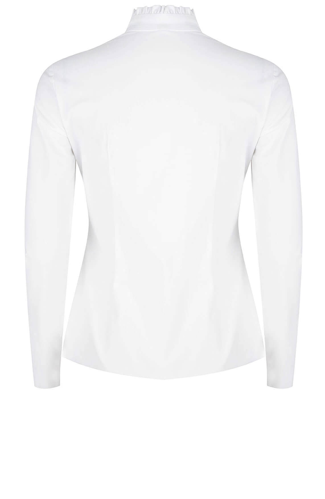 Jane Lushka Dames Jersey blouse met ruches wit