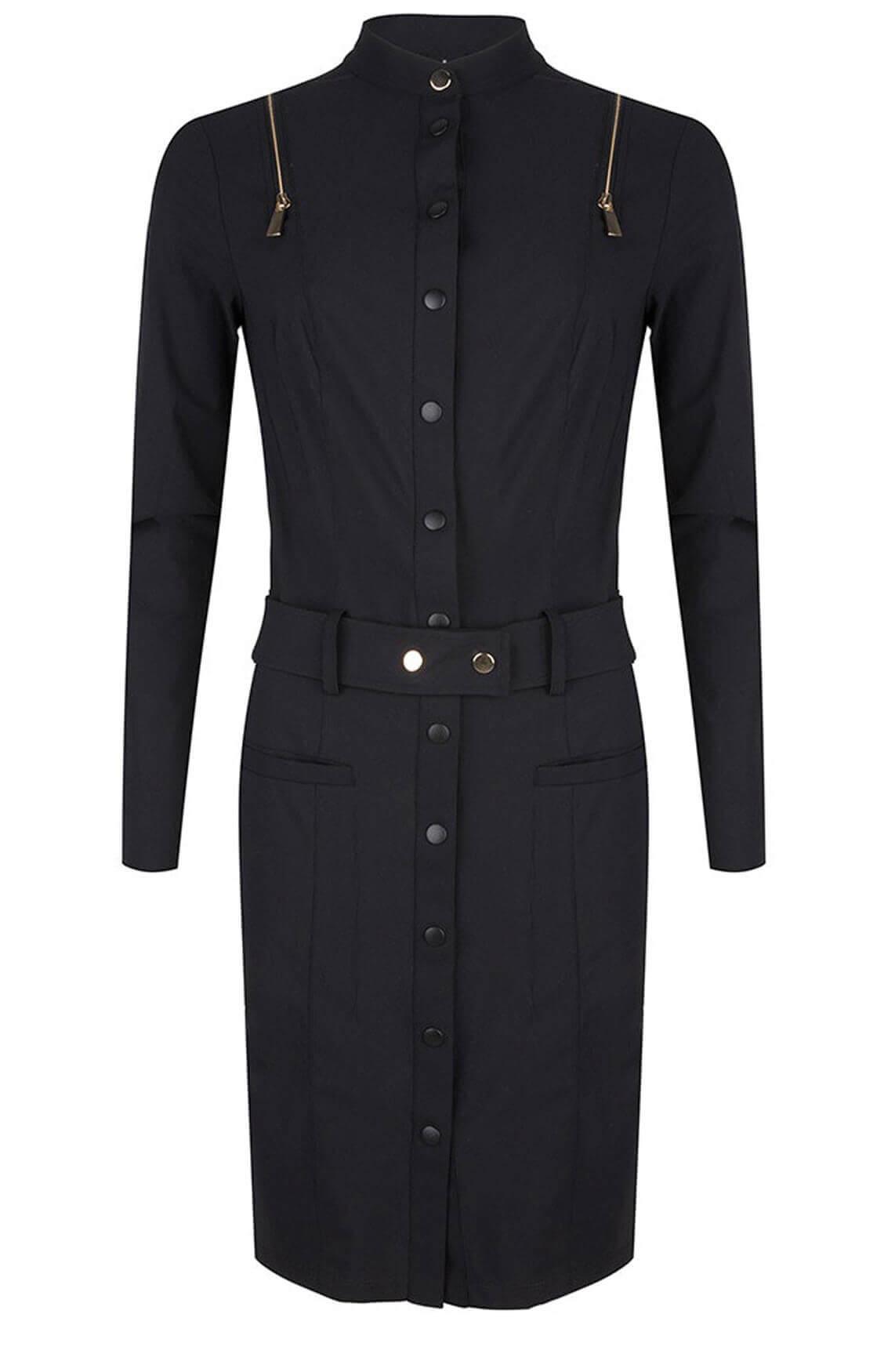 Jane Lushka Dames Jersey jurk met gouden details zwart