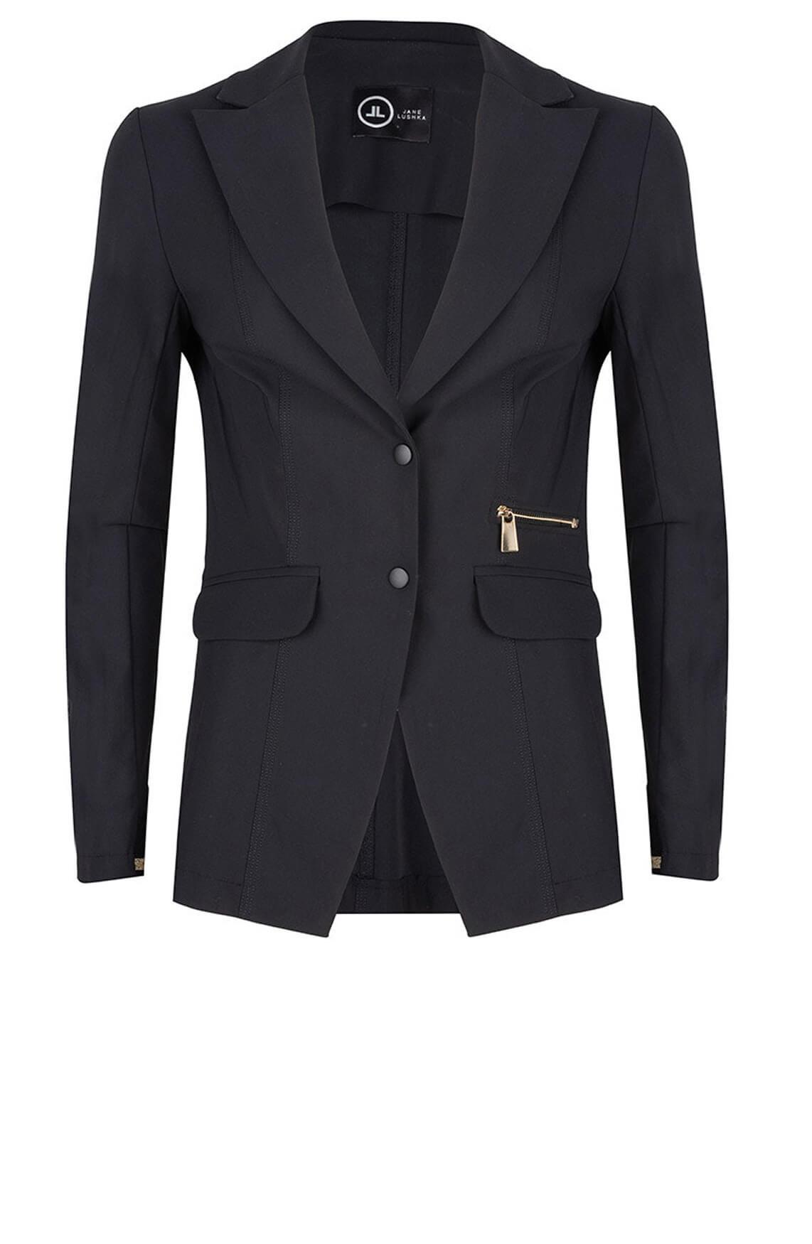 Jane Lushka Dames Jersey blazer met gouden details zwart
