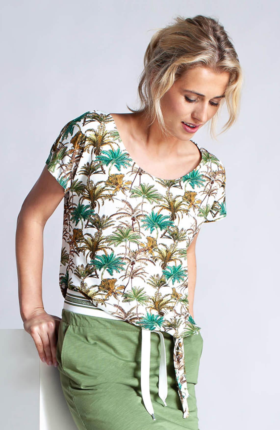 Anna Dames Shirt met palmprint groen