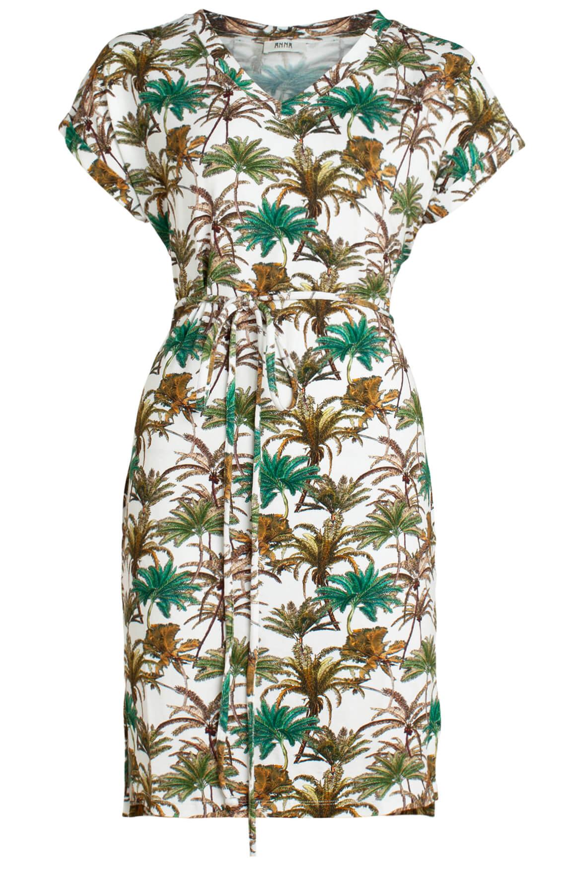 Anna Dames Jurk met palmprint groen
