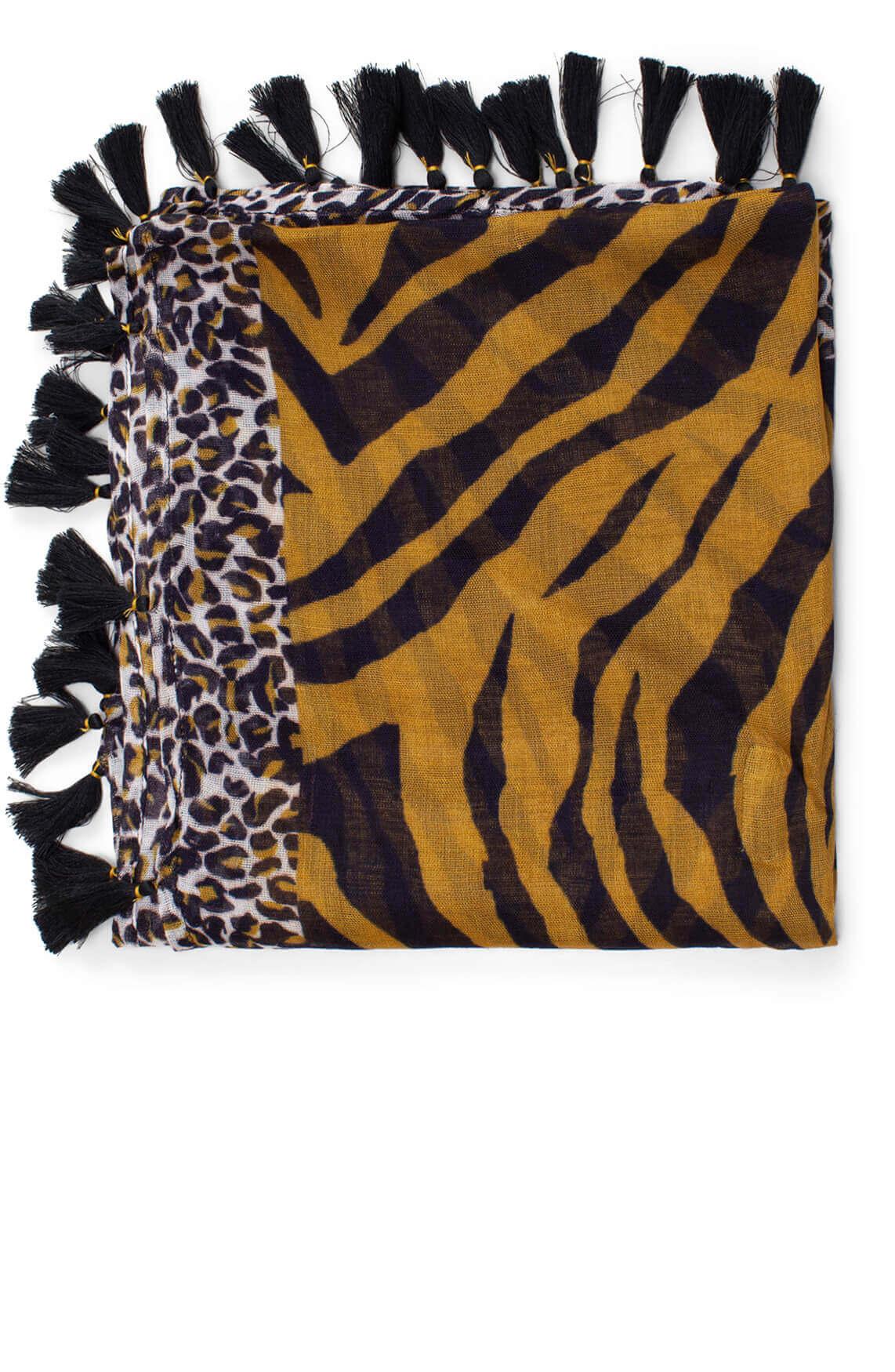 Anna Dames Geprinte shawl zwart