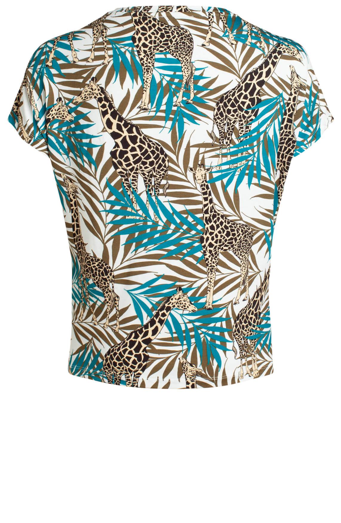 Anna Dames Shirt met giraffe print groen