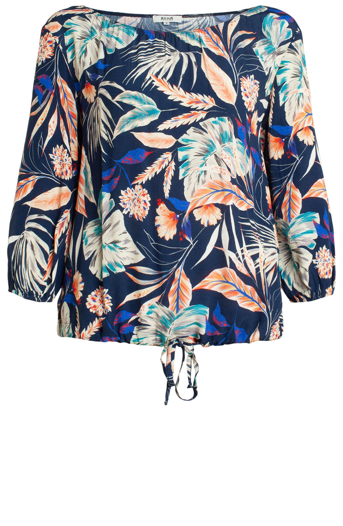 Anna Dames Off-shoulder blouse met print Blauw