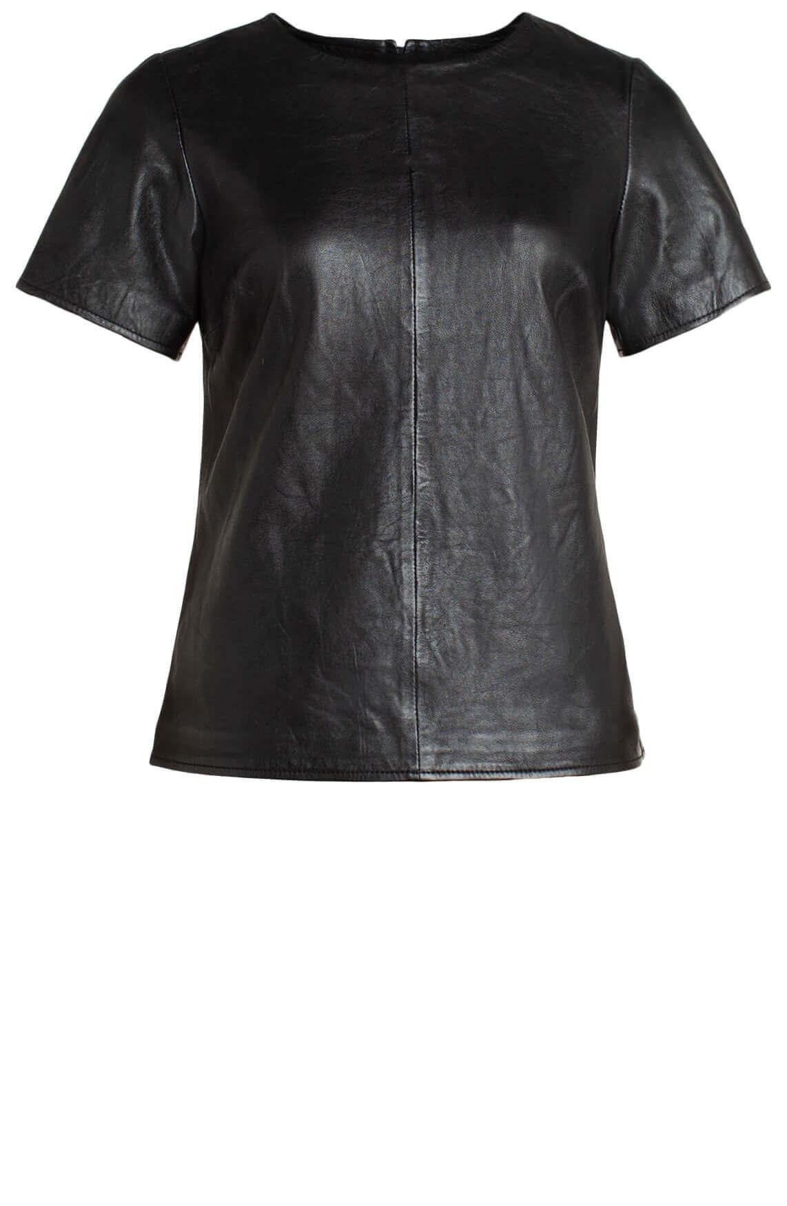 Gipsy Dames Vivia leren shirt zwart