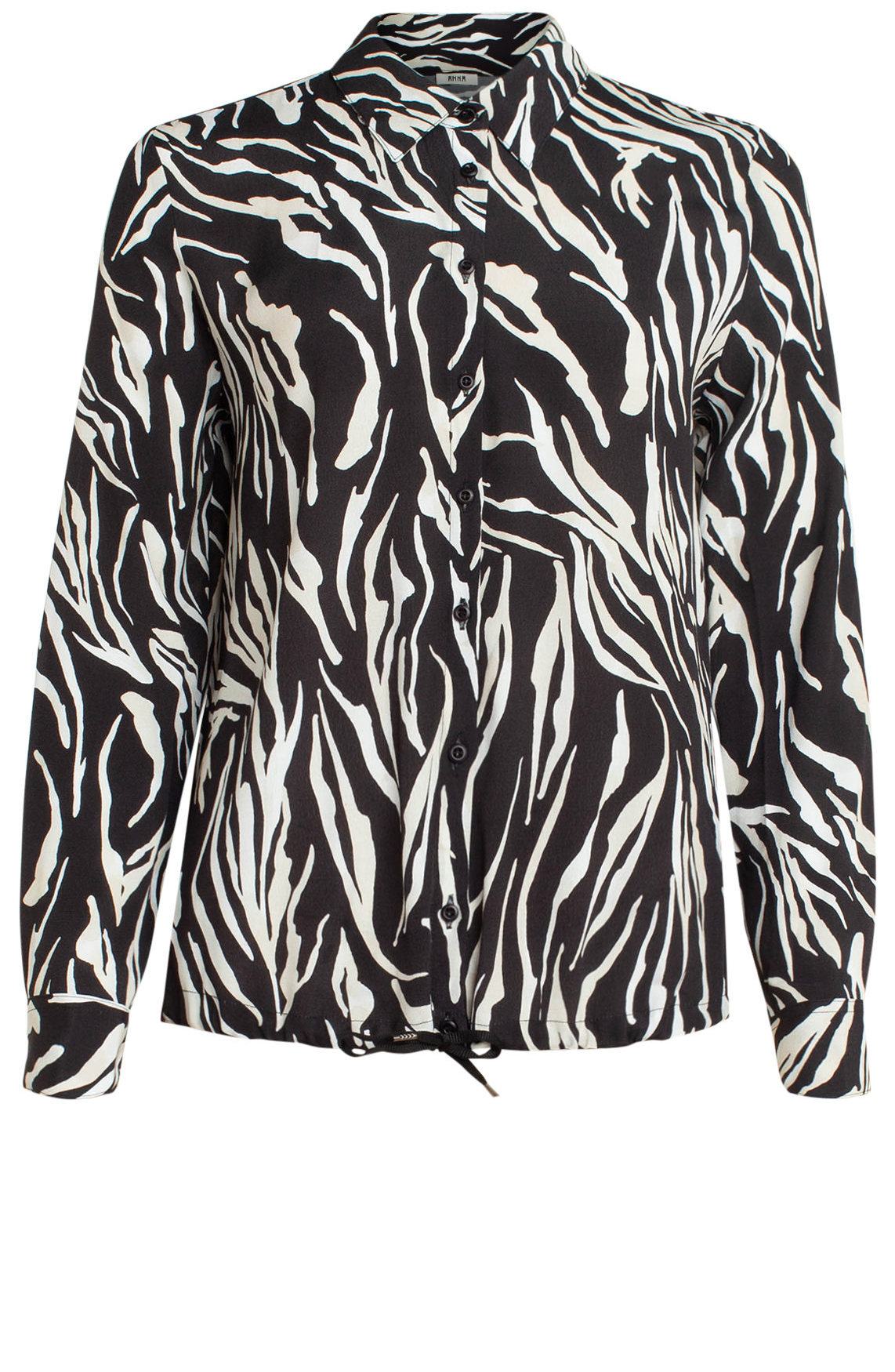 Anna Dames Blouse met animalprint zwart