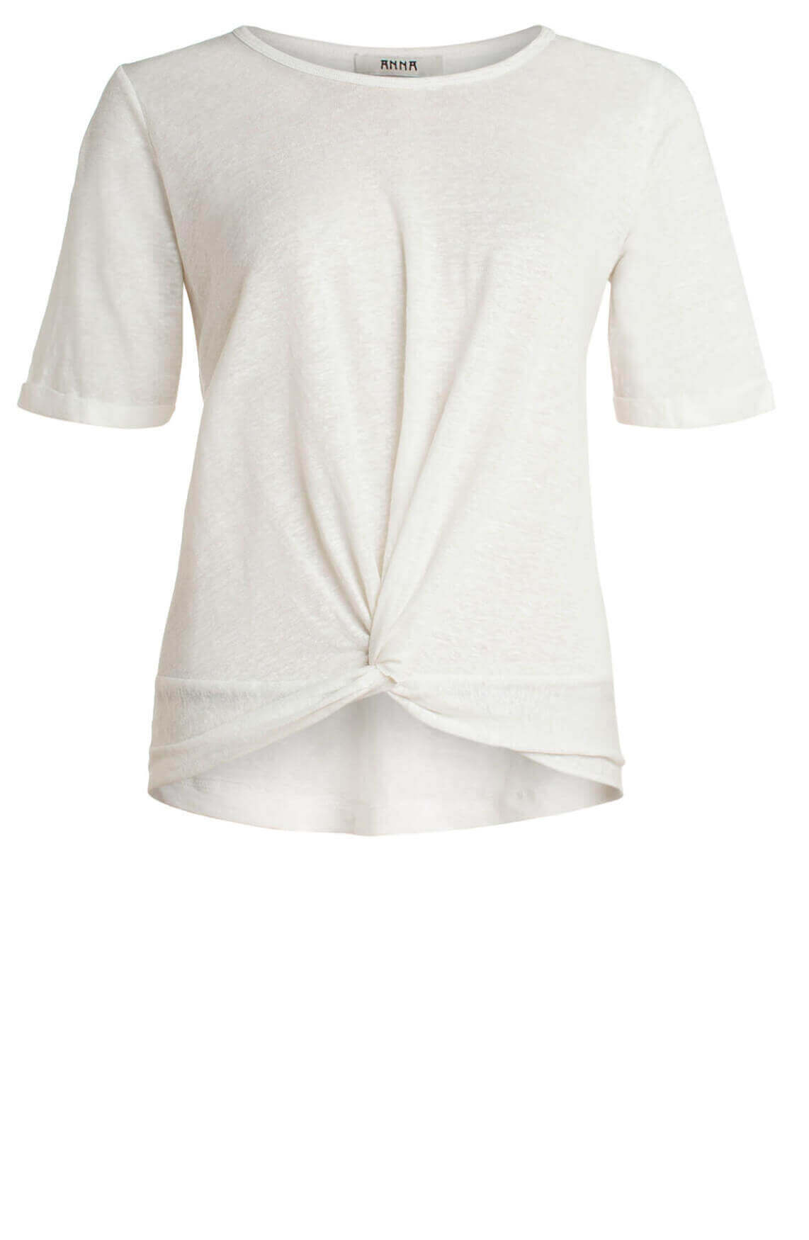 Anna Dames Shirt met knoopdetail wit