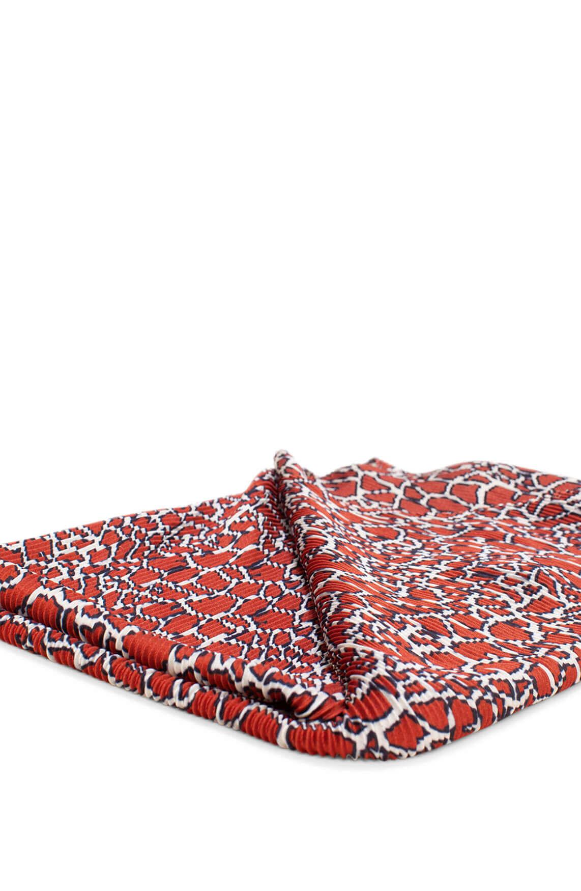 Anna Dames Plissé shawl met print Rood