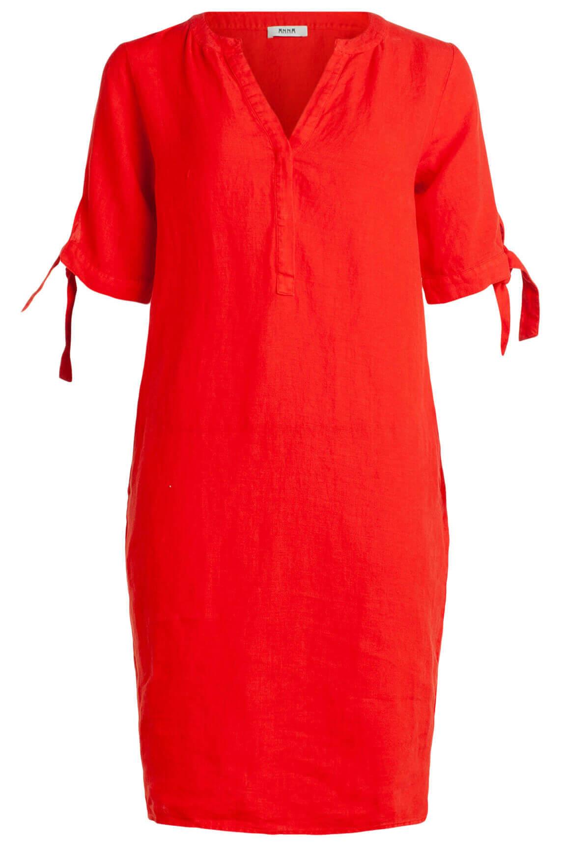 Anna Dames Linnen jurk Rood