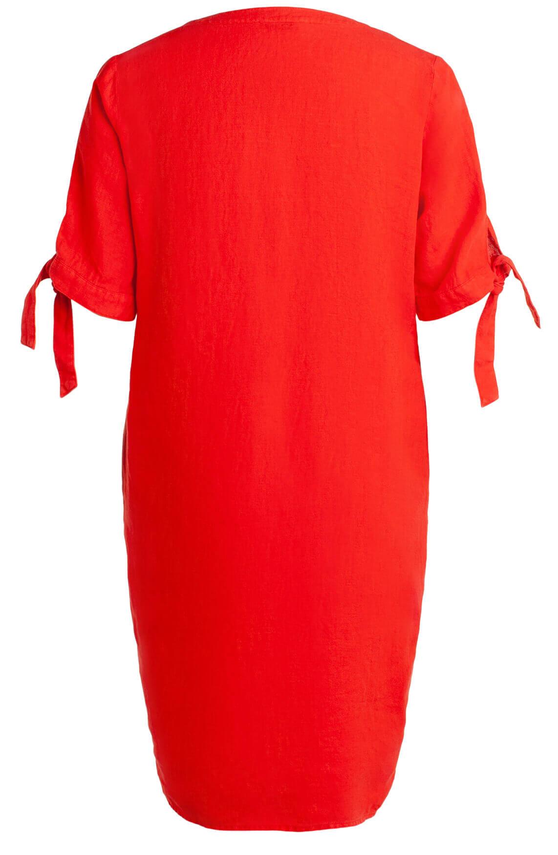 Anna Dames Linnen jurk met knoopdetail Rood