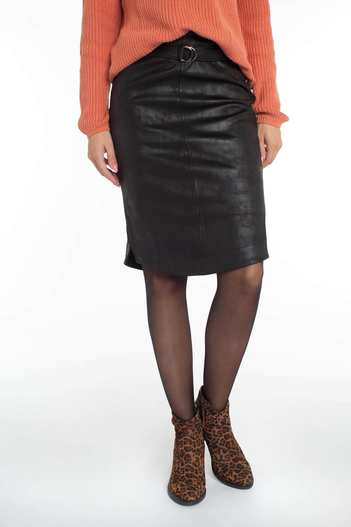 Anna Dames Fake leather rok met ceintuur zwart