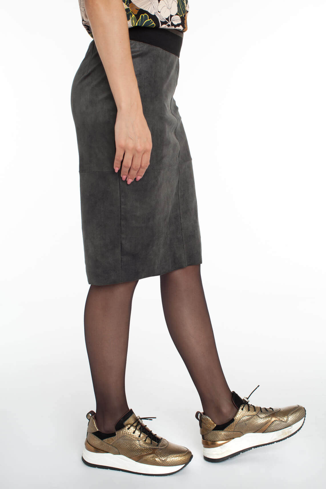 Anna Dames Fake leather rok groen