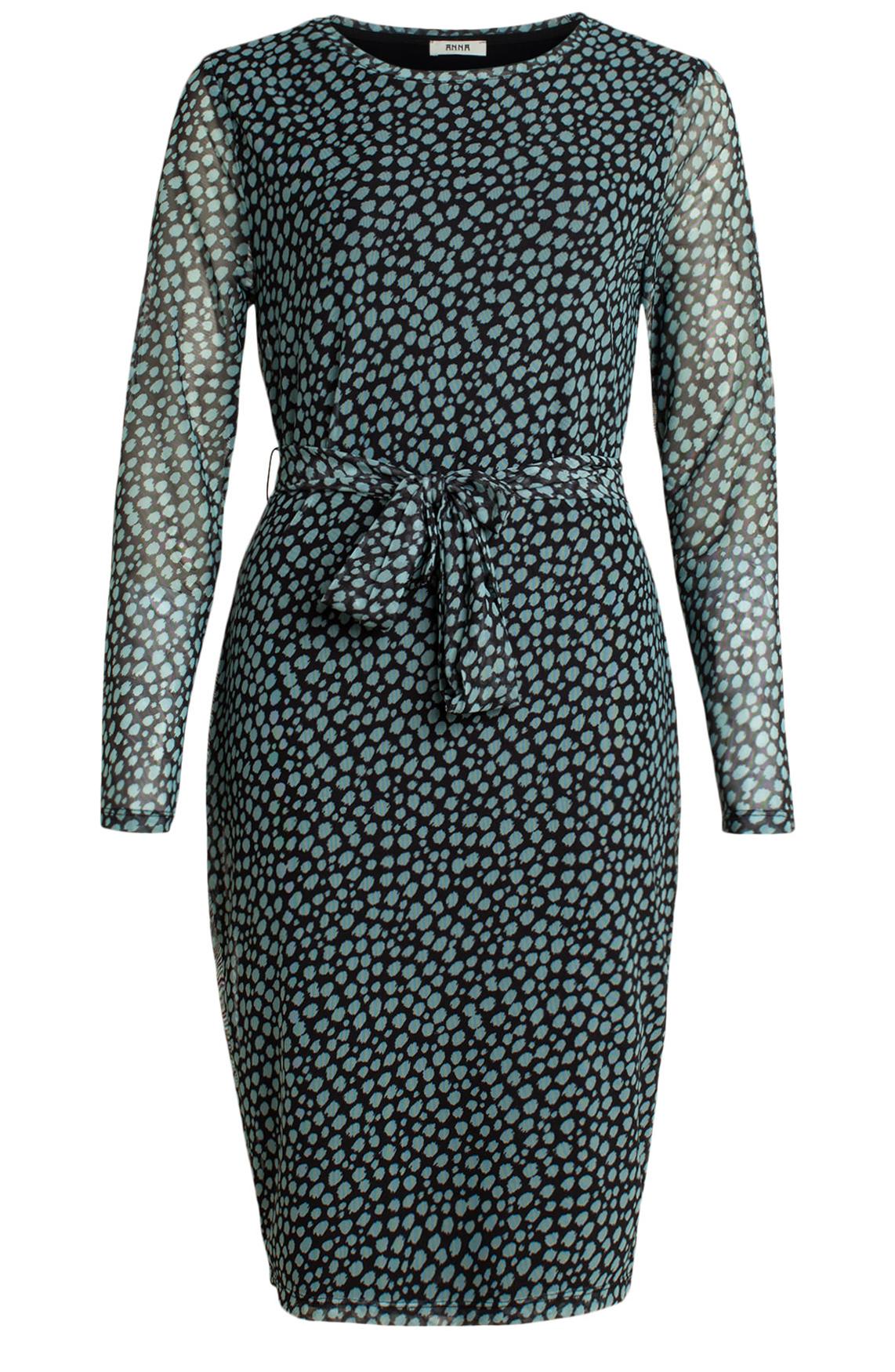 Anna Dames Mesh jurk met stippenprint groen