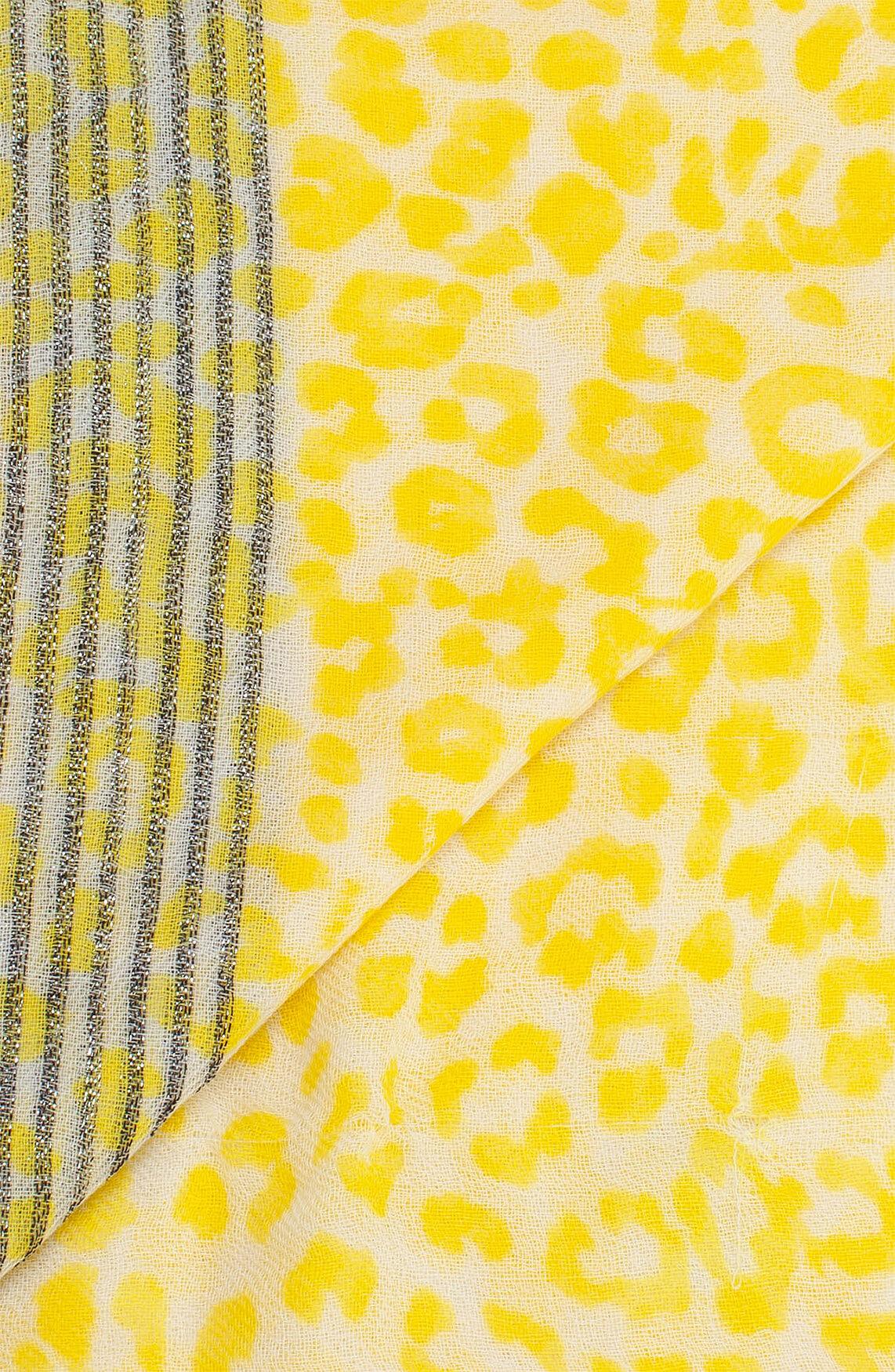 Anna Dames Shawl met panterprint geel