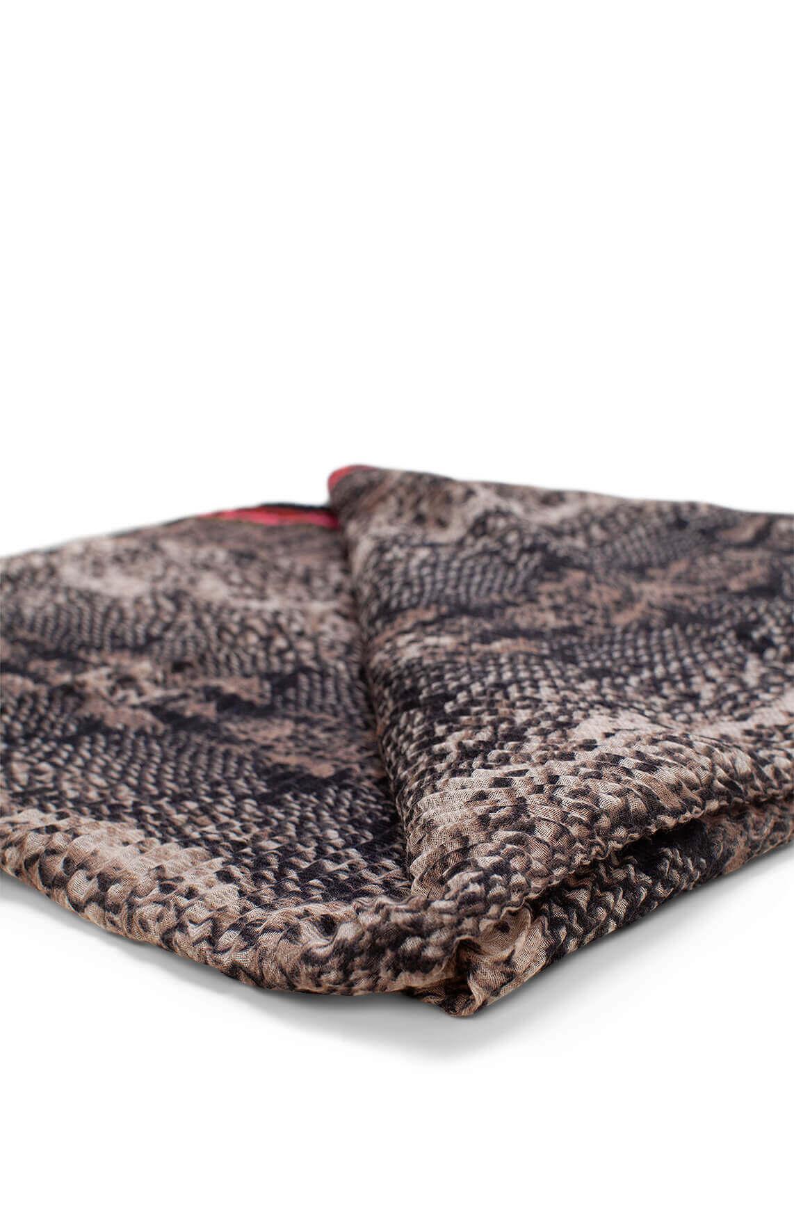 Codello Dames Plissé shawl met reptielprint Grijs