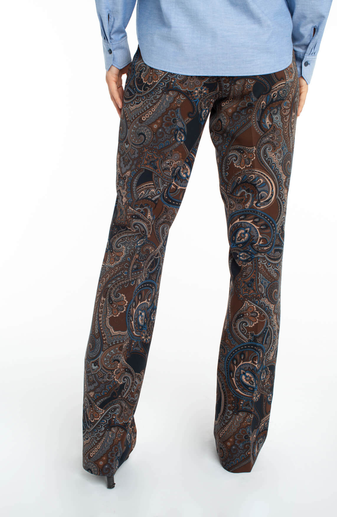 Cambio Dames Ros flared paisley pantalon Bruin