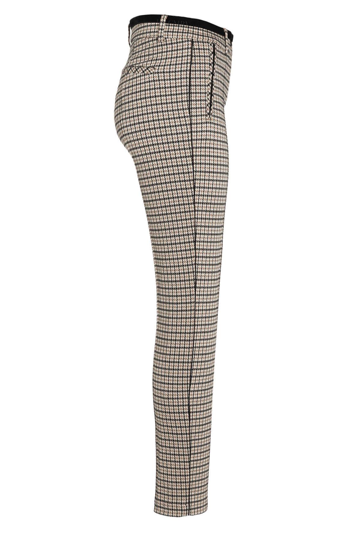 Cambio Dames Rhona pied-de-coq pantalon Bruin