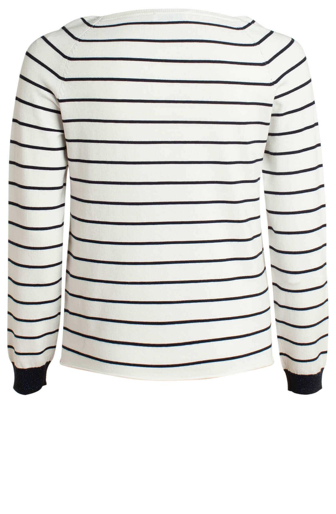 Anna Blue Dames Pullover met strepen wit