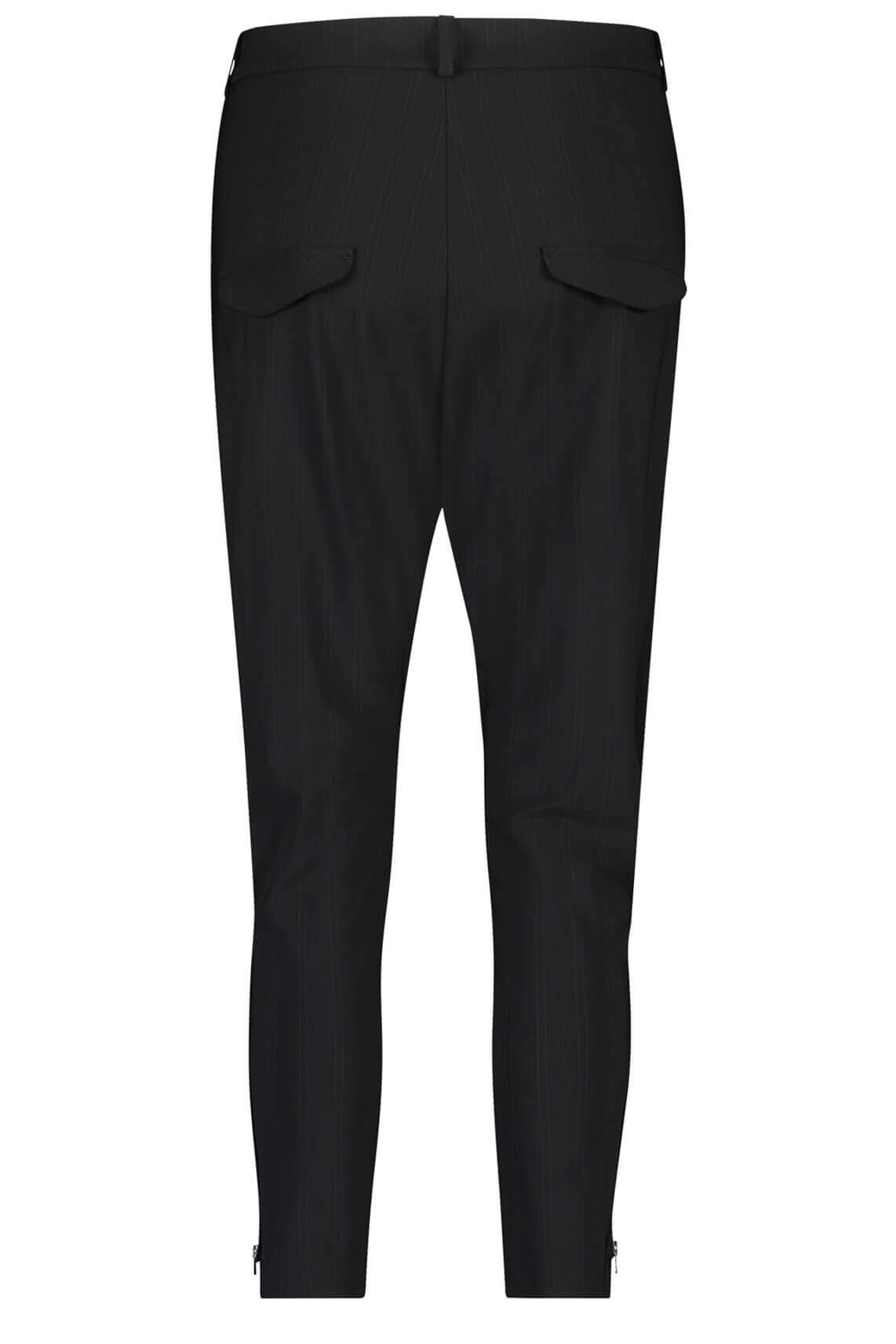 Penn & Ink Dames Gestreepte broek met sierrits zwart