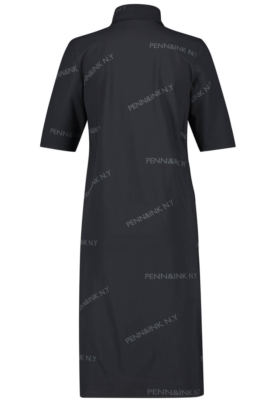 Penn & Ink Dames Jurk met tekstprint zwart
