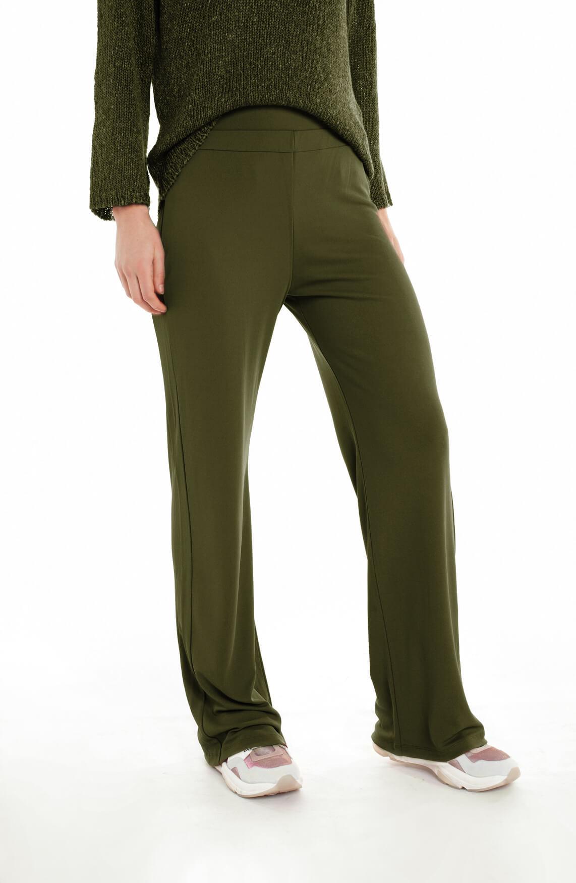 Moscow Dames Wijdvallende flowy broek groen