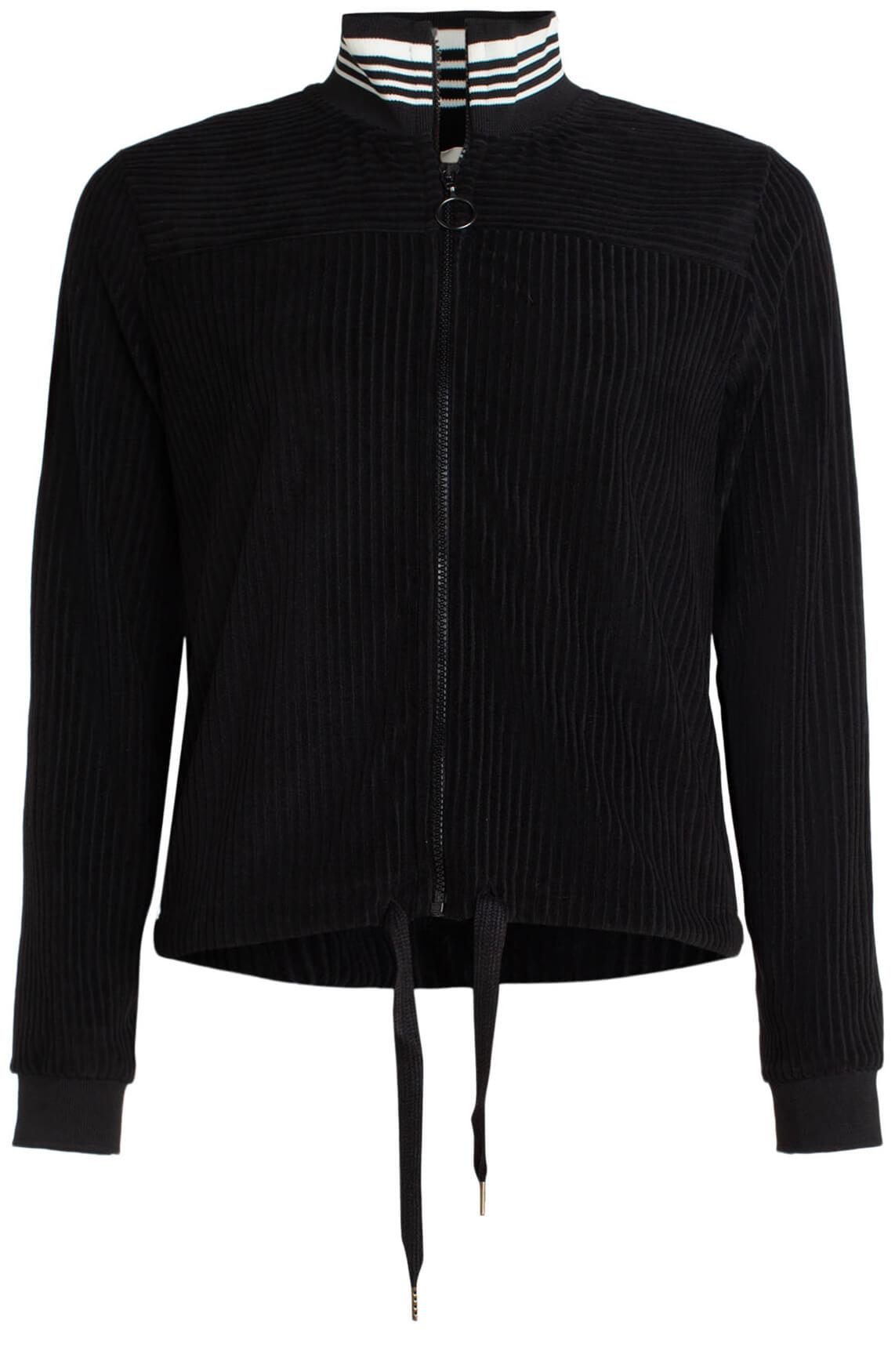 Anna Dames Boxy velvet vest zwart