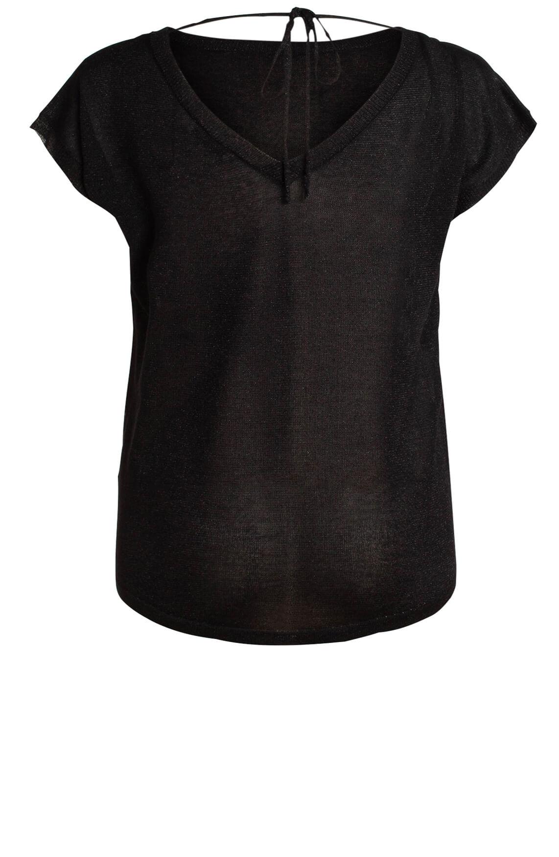 Anna Dames Shirt met lurex zwart