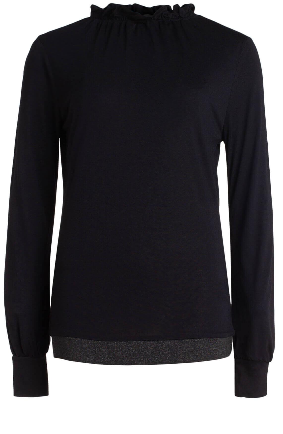 Anna Dames Shirt met ruffles en lurex zwart