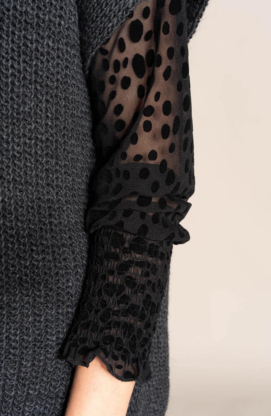 Anna Dames Blouse met stippen zwart