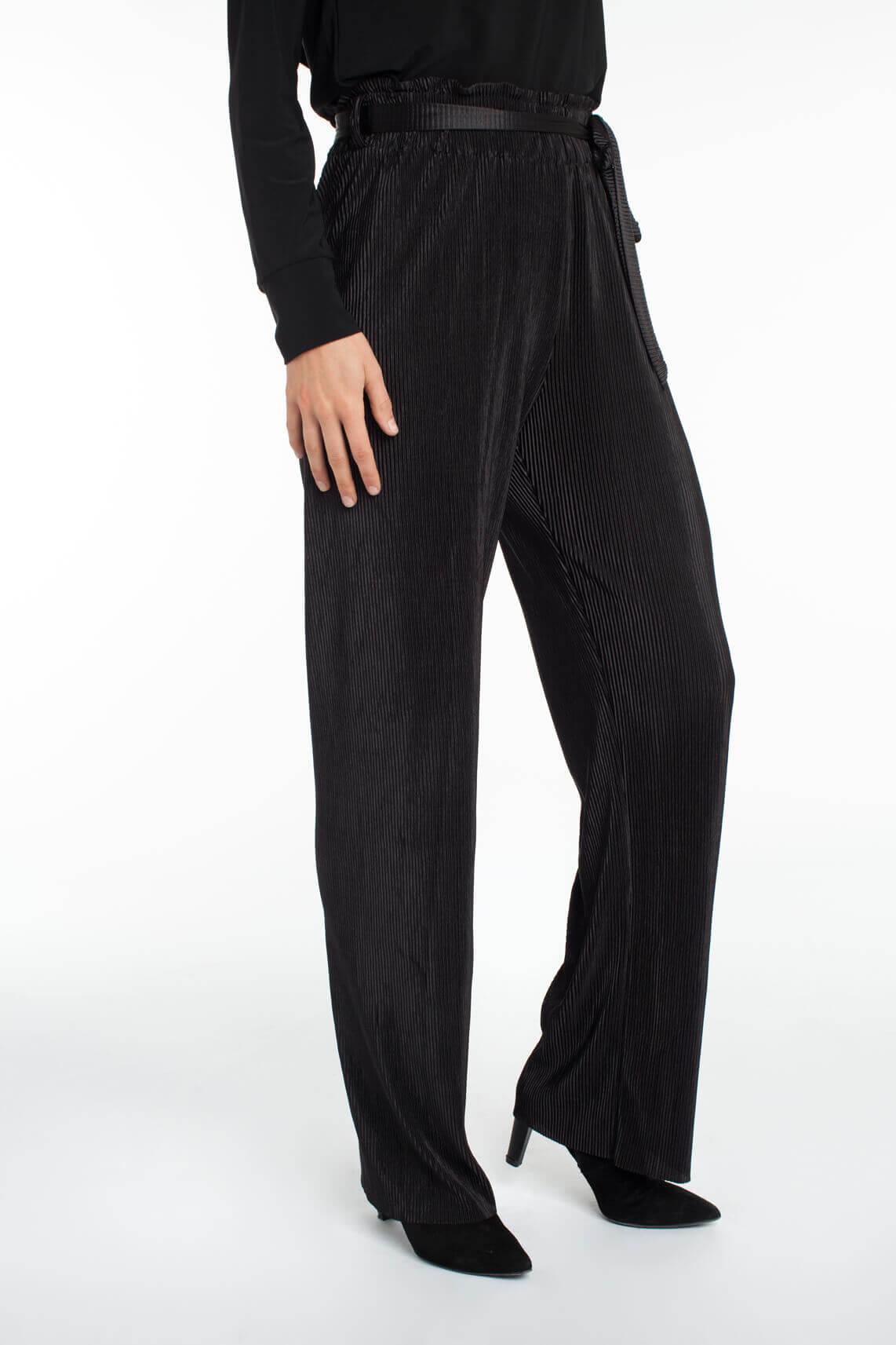 Anna Dames Plissé broek zwart