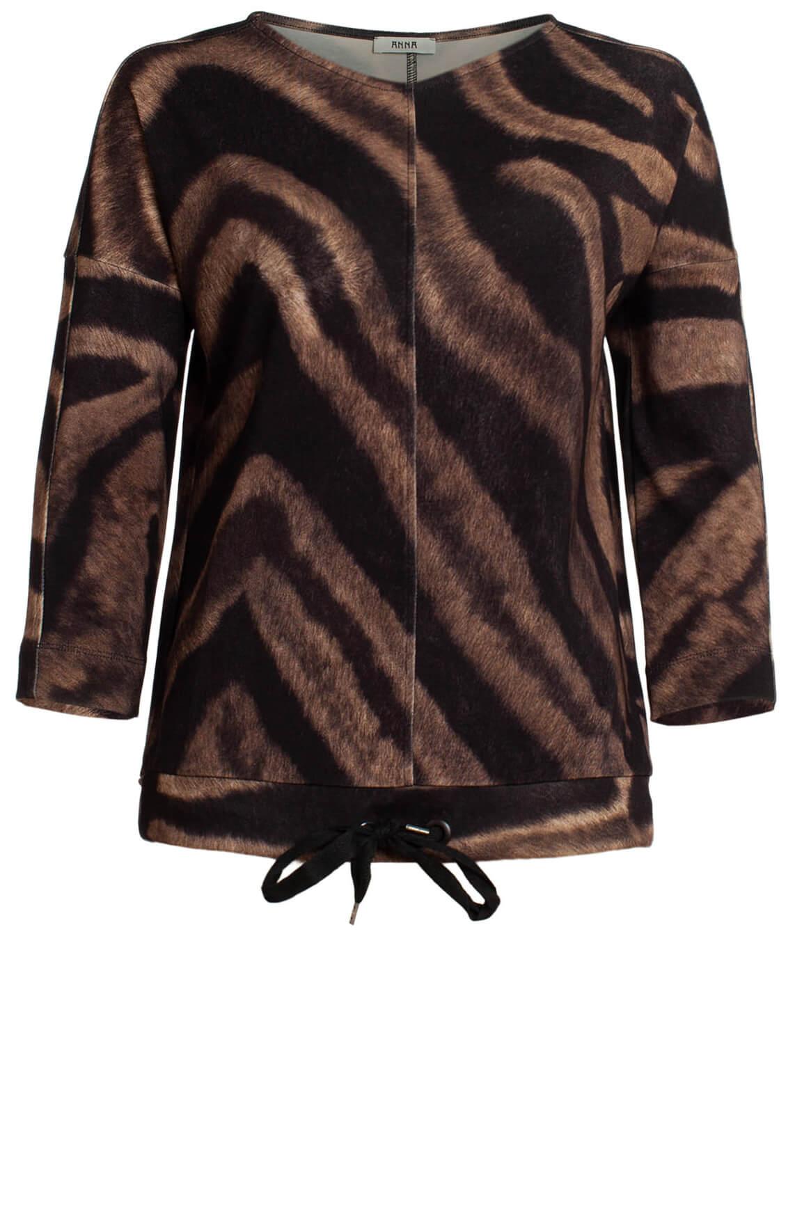 Anna Dames Shirt met animalprint zwart