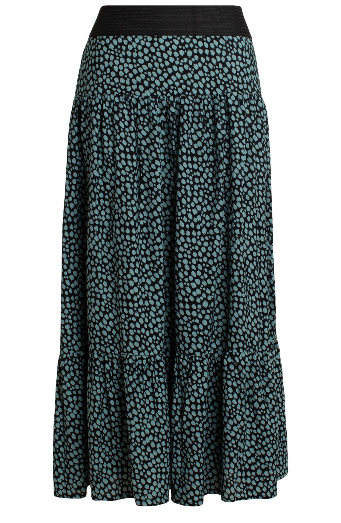 Anna Dames Lange rok met stippenprint zwart
