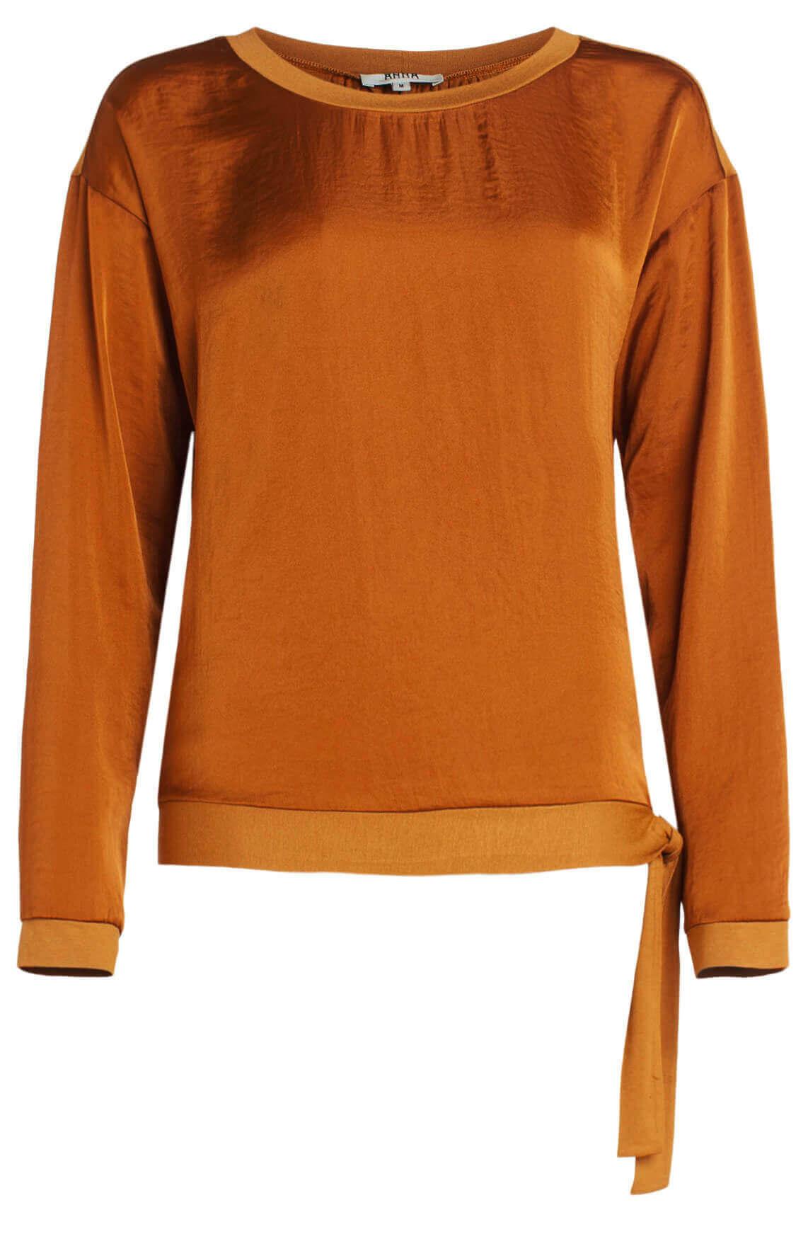 Anna Dames Materiaalmix blouse Bruin
