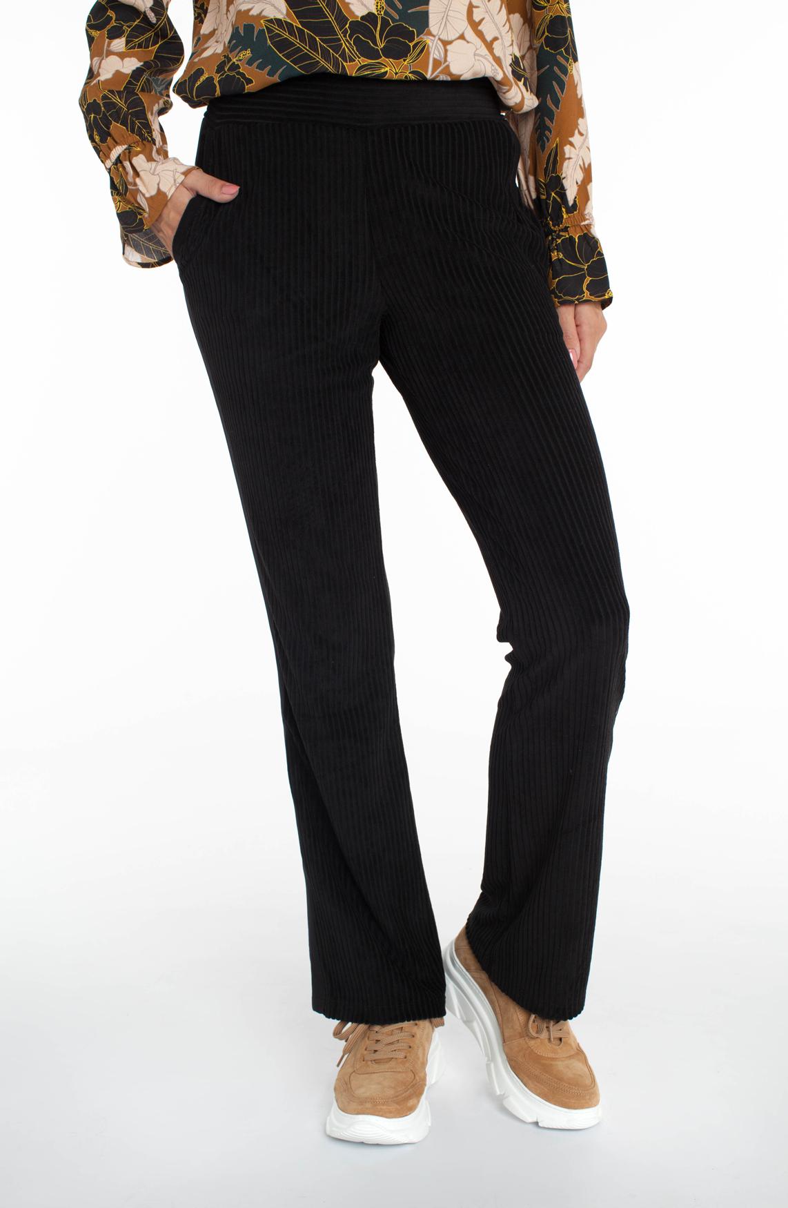 Anna Dames Flared velvet broek met bies zwart
