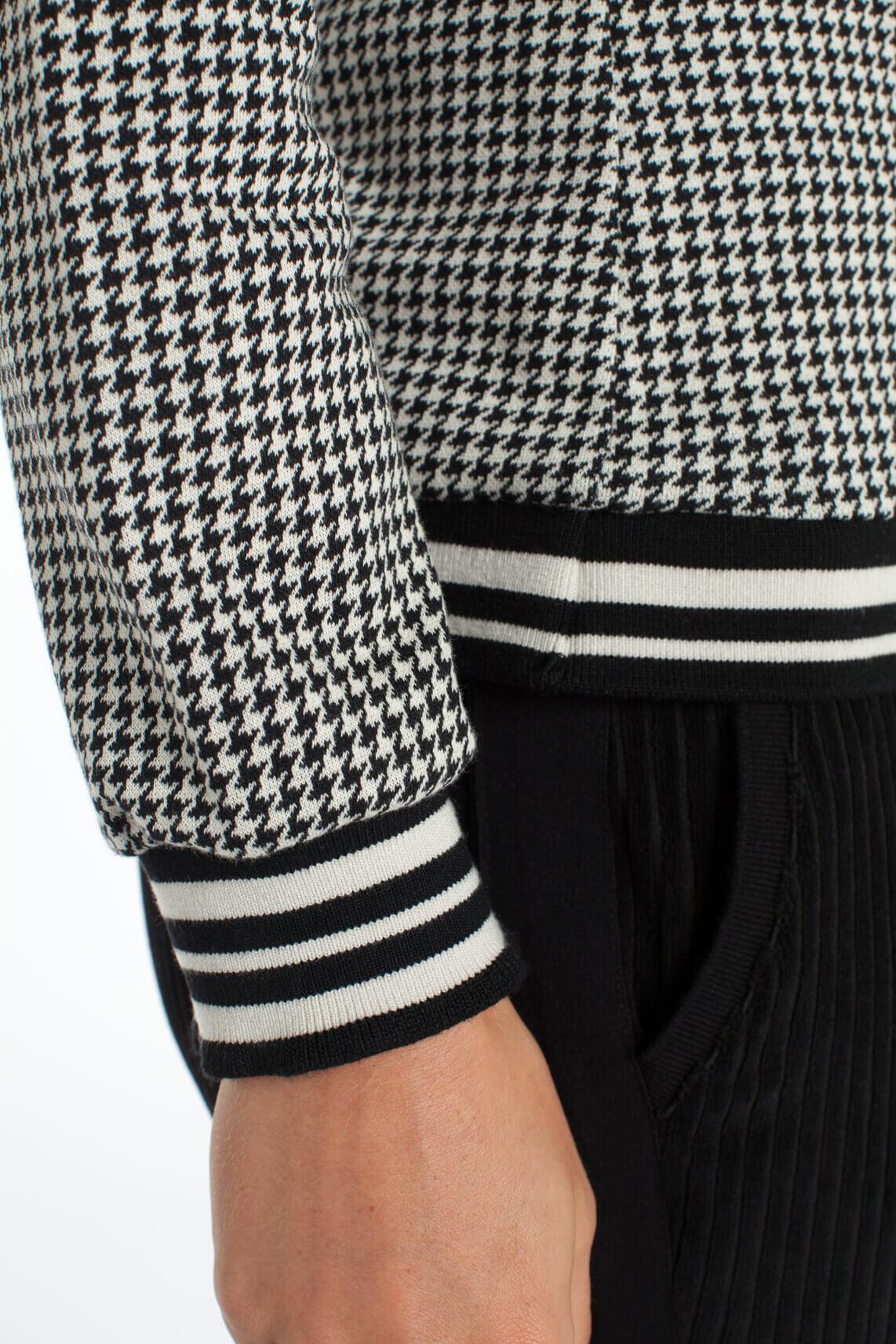 Anna Dames Pied-de-poule sweater zwart