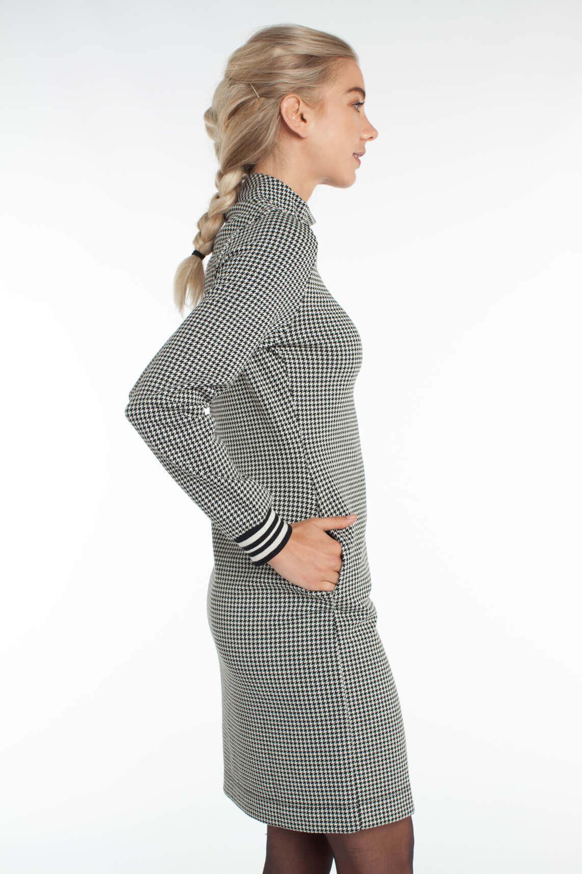 Anna Dames Pied-de-poule jurk zwart