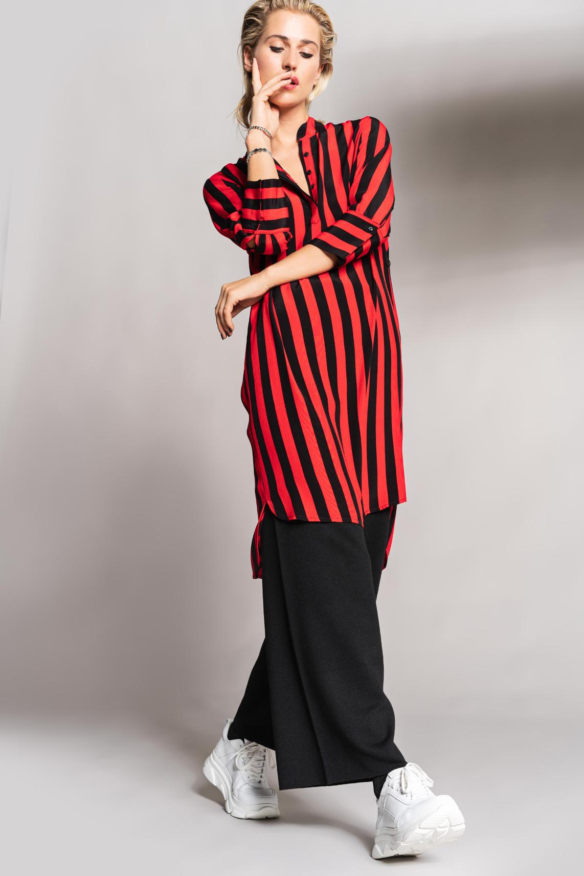 Anna Dames Gestreepte jurk Rood