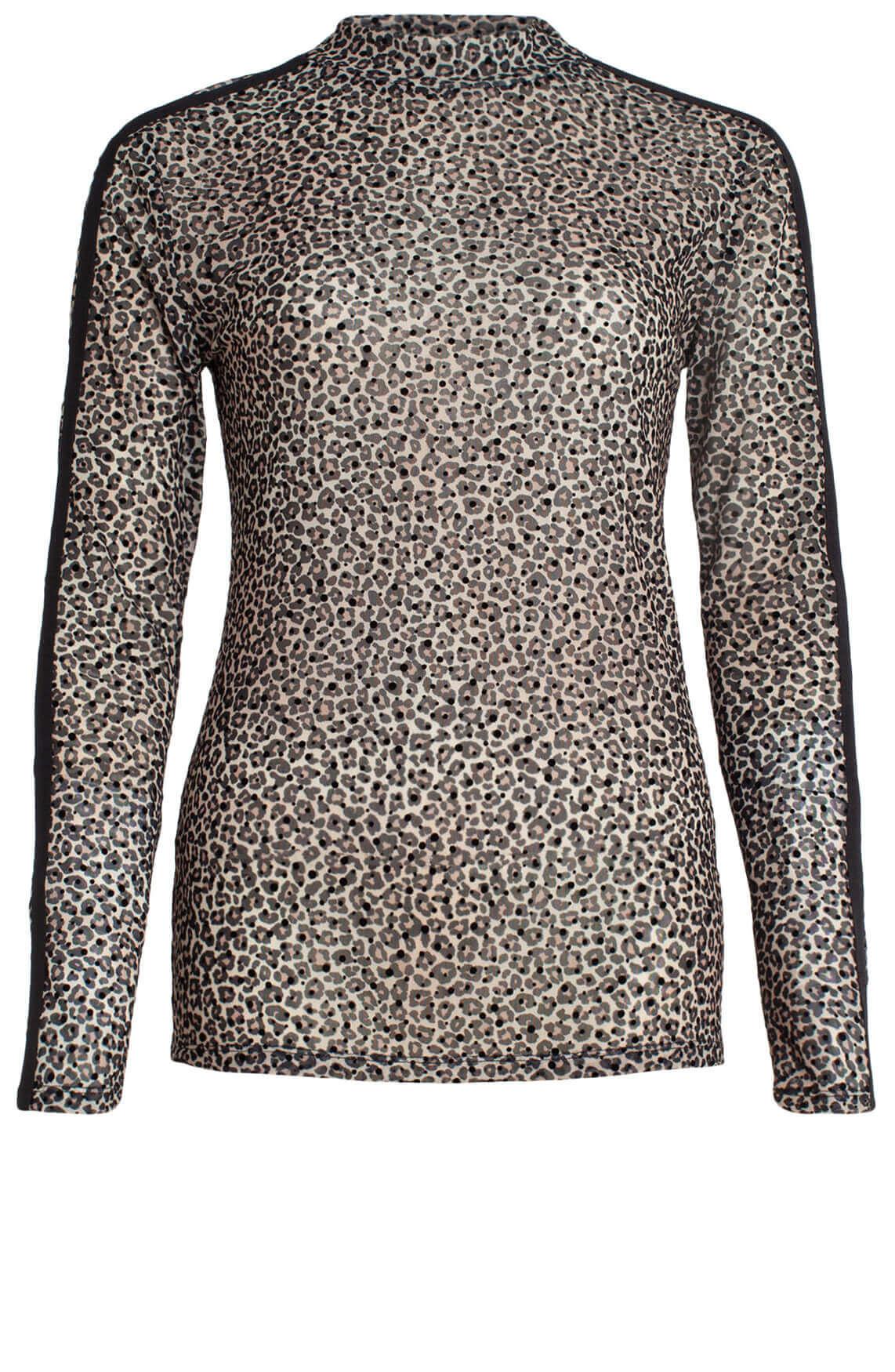 Anna Dames Shirt met panterprint zwart