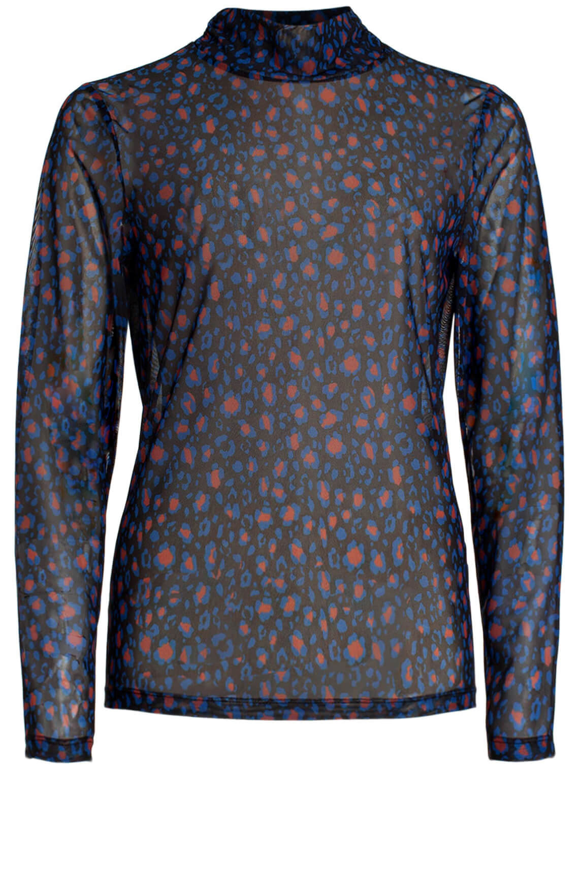 Anna Dames Mesh shirt met panterprint Blauw